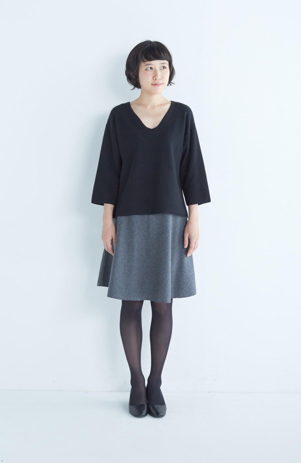 エムトロワ 【mer1月号掲載】きれい色もあったかも楽しめるリバーシブルフレアースカート <杢グレー>の商品写真14