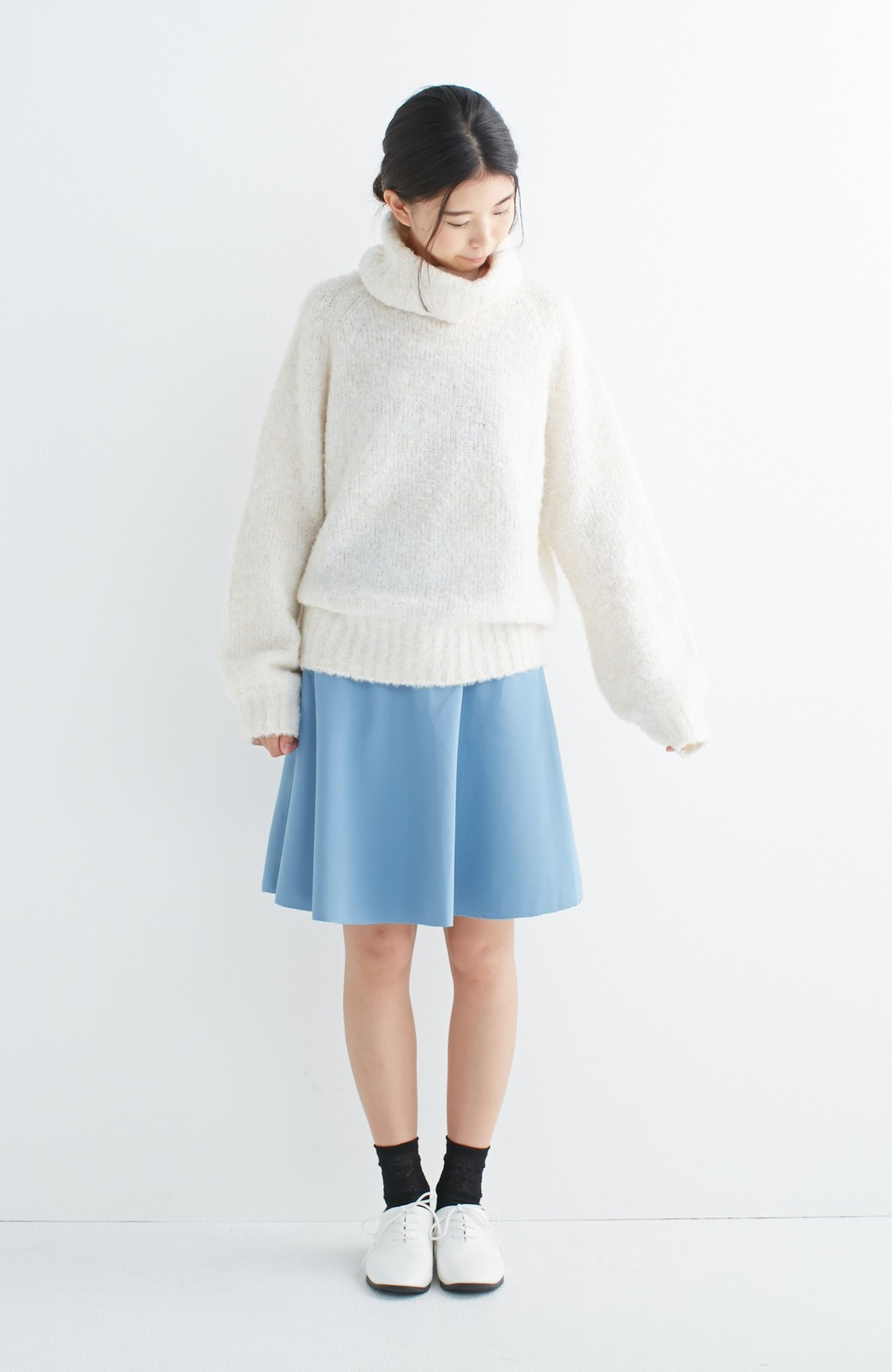 エムトロワ 【mer1月号掲載】きれい色もあったかも楽しめるリバーシブルフレアースカート <杢グレー>の商品写真4
