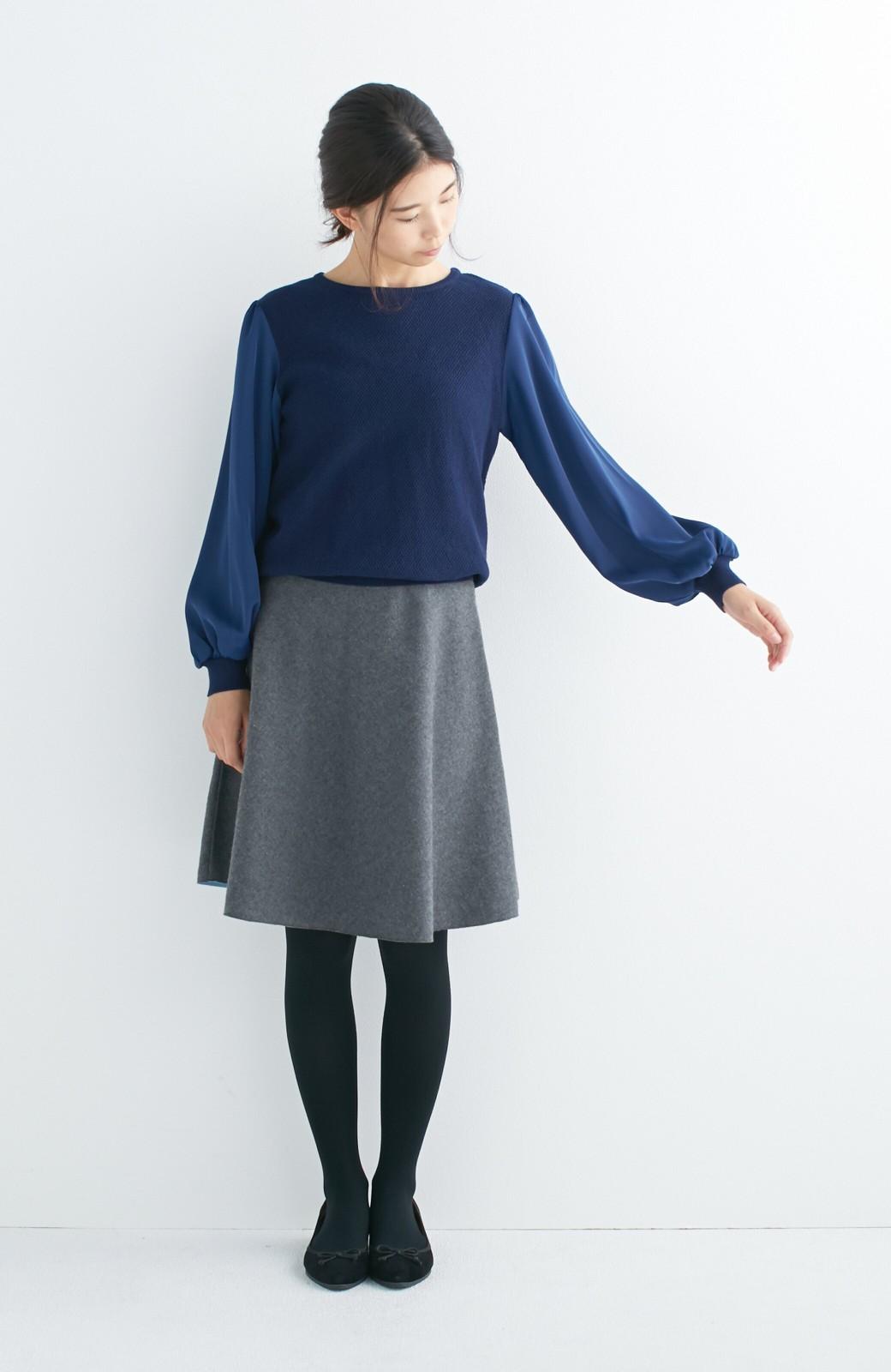 エムトロワ 【mer1月号掲載】きれい色もあったかも楽しめるリバーシブルフレアースカート <杢グレー>の商品写真5