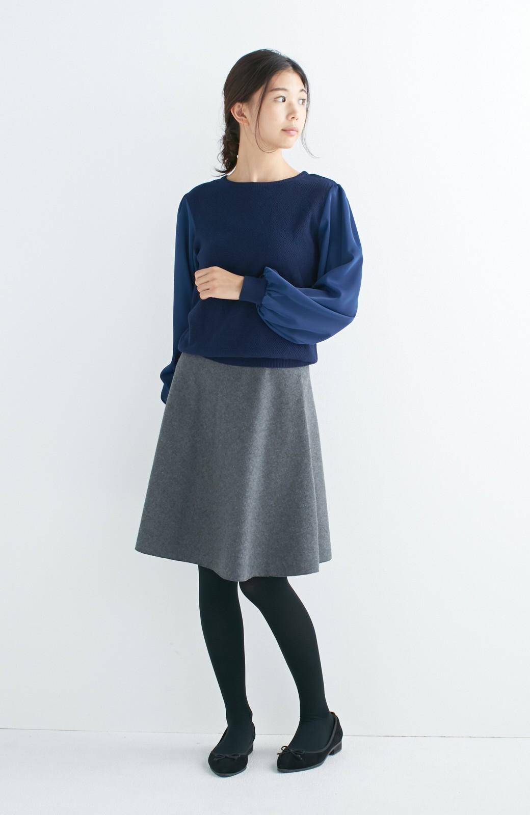 エムトロワ 【mer1月号掲載】きれい色もあったかも楽しめるリバーシブルフレアースカート <杢グレー>の商品写真6