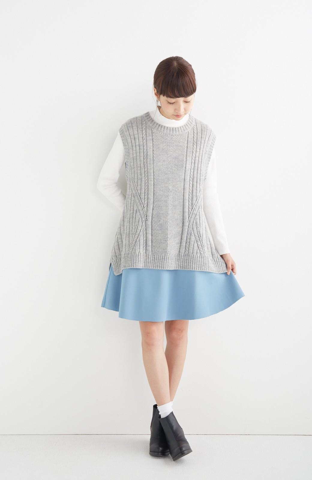 エムトロワ 【mer1月号掲載】きれい色もあったかも楽しめるリバーシブルフレアースカート <杢グレー>の商品写真8
