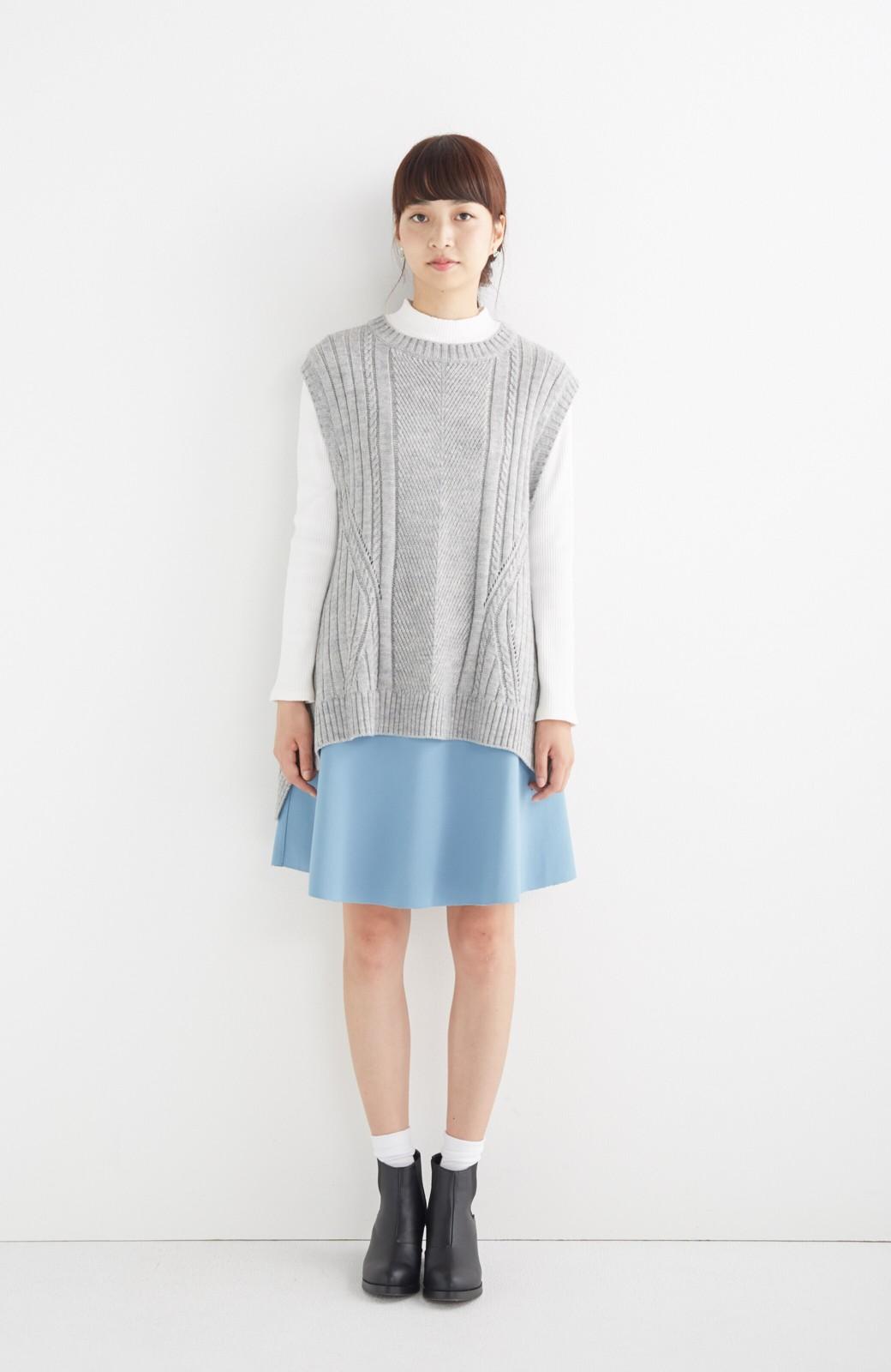 エムトロワ 【mer1月号掲載】きれい色もあったかも楽しめるリバーシブルフレアースカート <杢グレー>の商品写真9