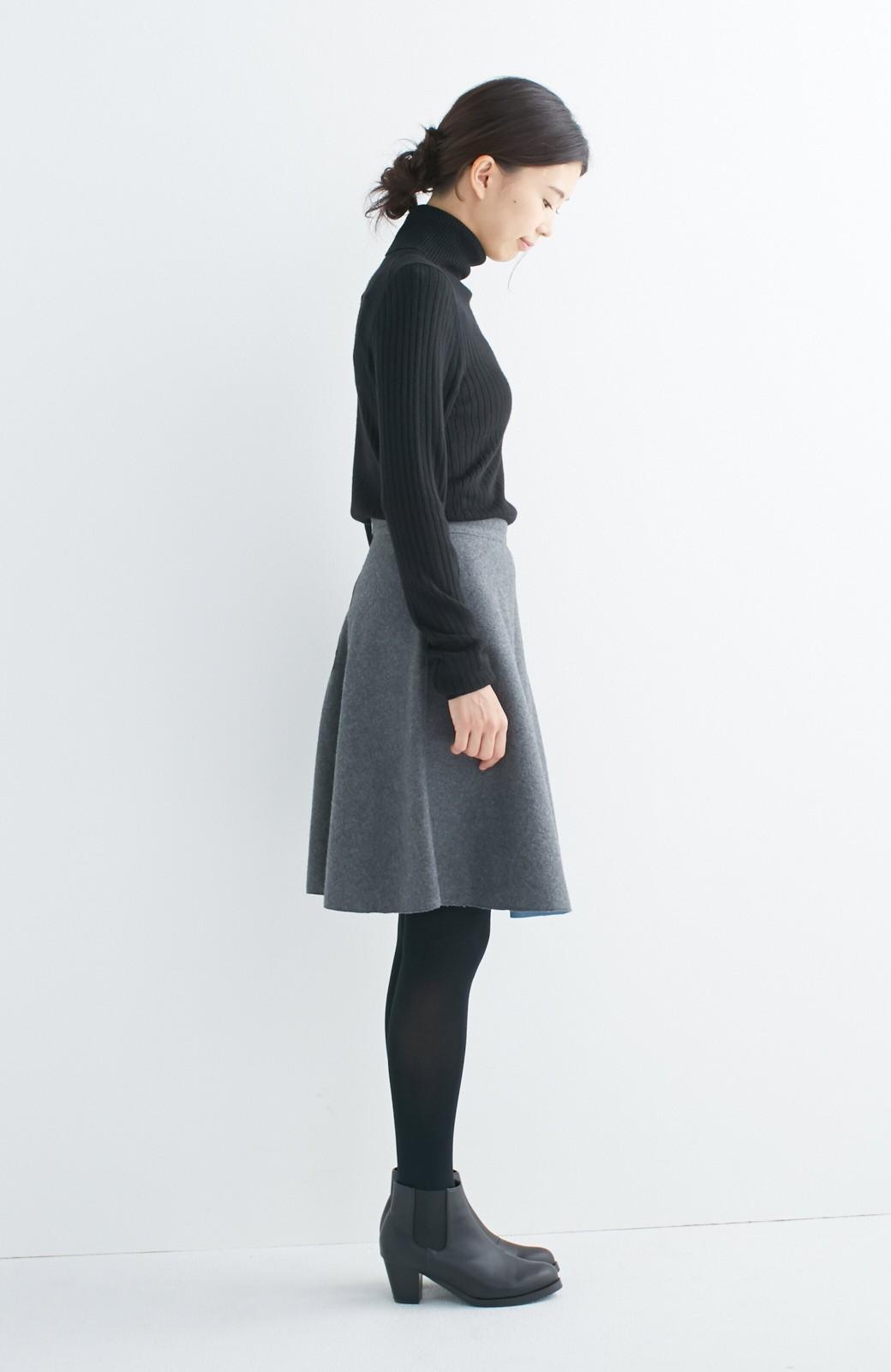 エムトロワ 【mer1月号掲載】きれい色もあったかも楽しめるリバーシブルフレアースカート <杢グレー>の商品写真19