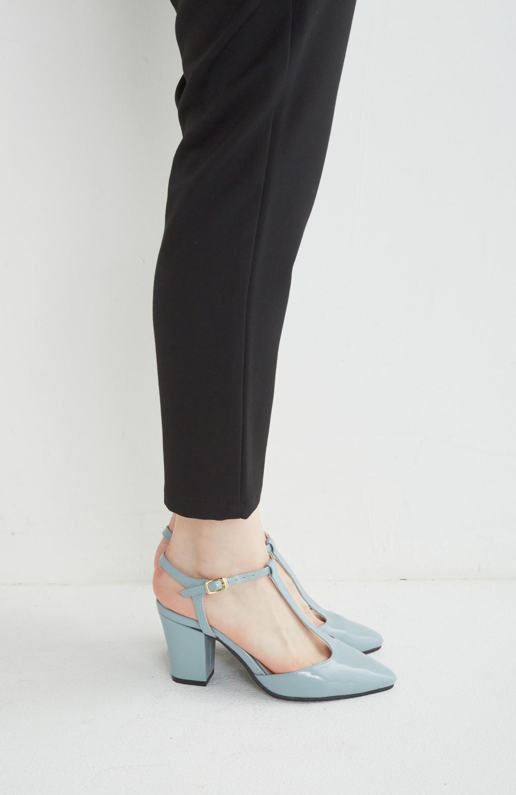 SHE THROUGH SEA おでかけの日に大切に履きたい、Tストラップパンプス <グレイッシュブルー>の商品写真3