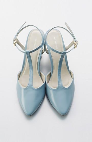 SHE THROUGH SEA おでかけの日に大切に履きたい、Tストラップパンプス <グレイッシュブルー>の商品写真
