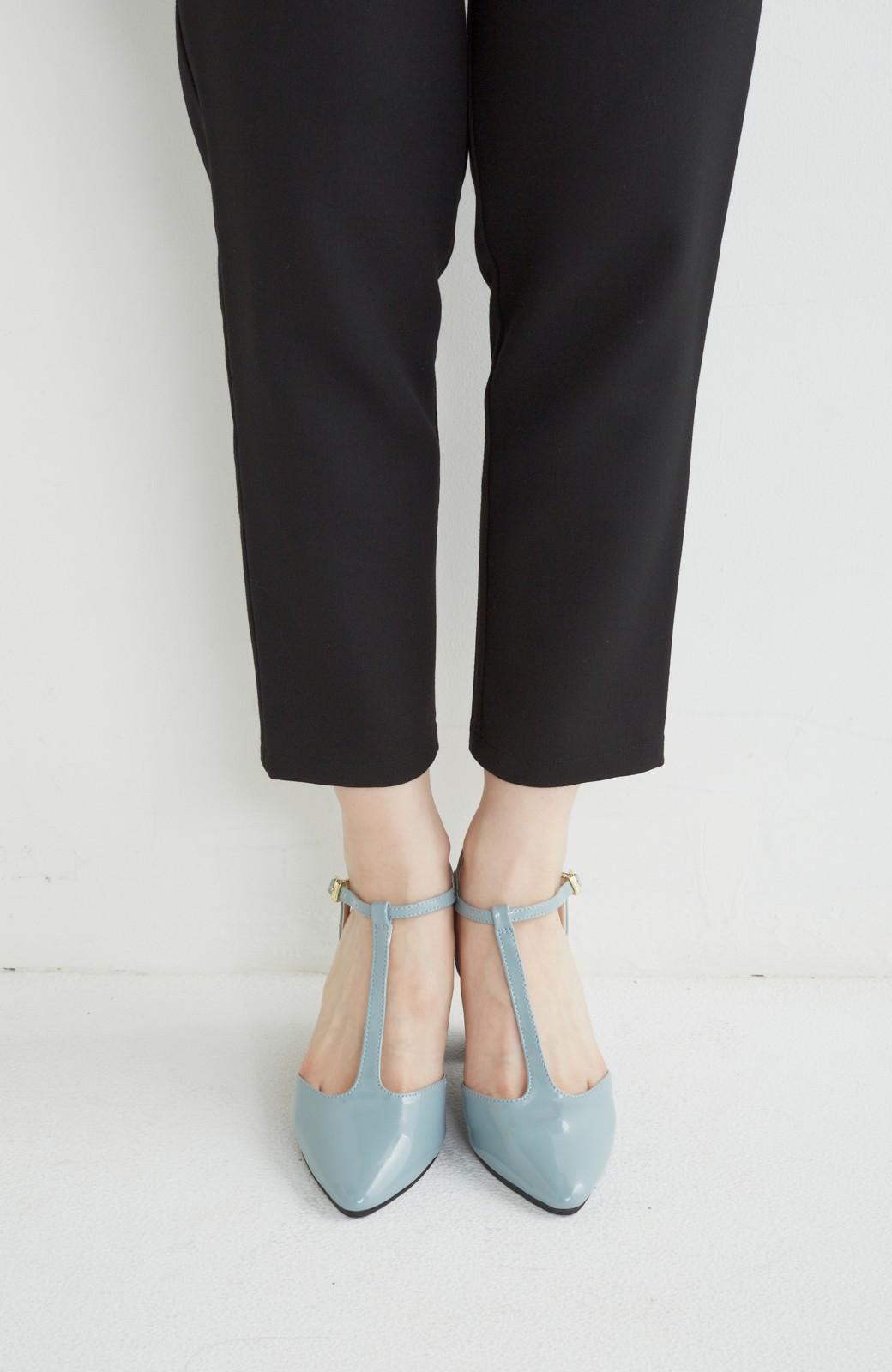 SHE THROUGH SEA おでかけの日に大切に履きたい、Tストラップパンプス <グレイッシュブルー>の商品写真2