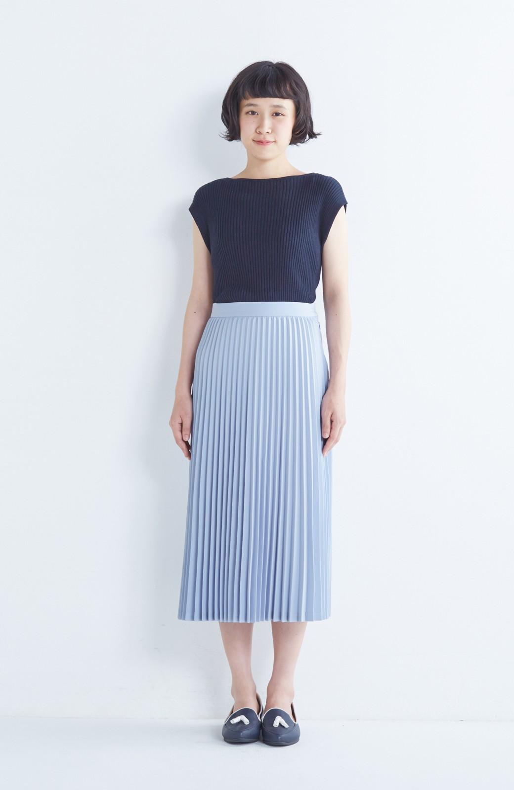 haco! 【mer11月号掲載】折り目正しい大人のためのプリーツスカート by que made me <サックスブルー>の商品写真3