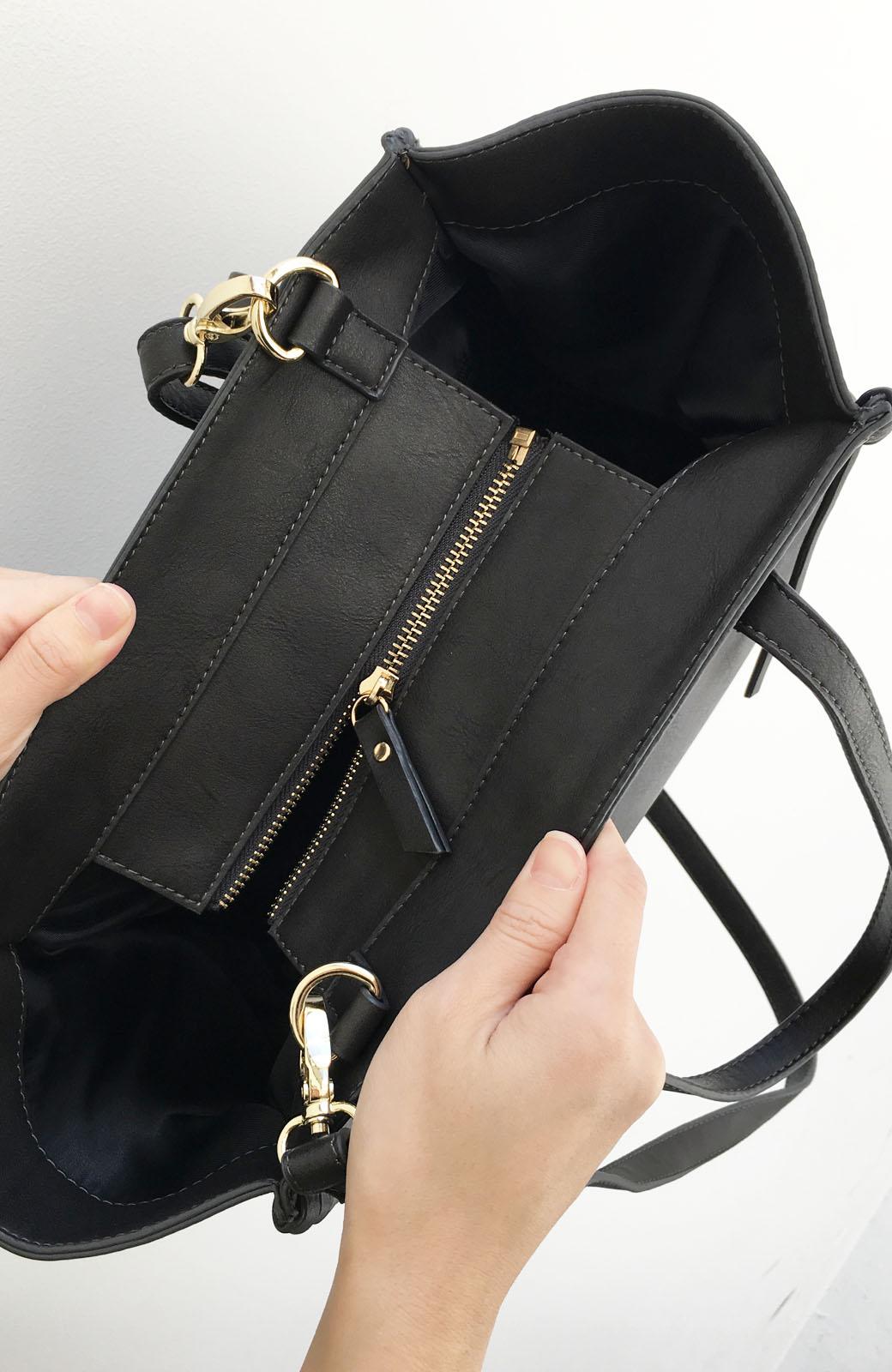 エムトロワ 編み込みデザインがかわいいフェミニントートバッグ <チャコールグレー>の商品写真2