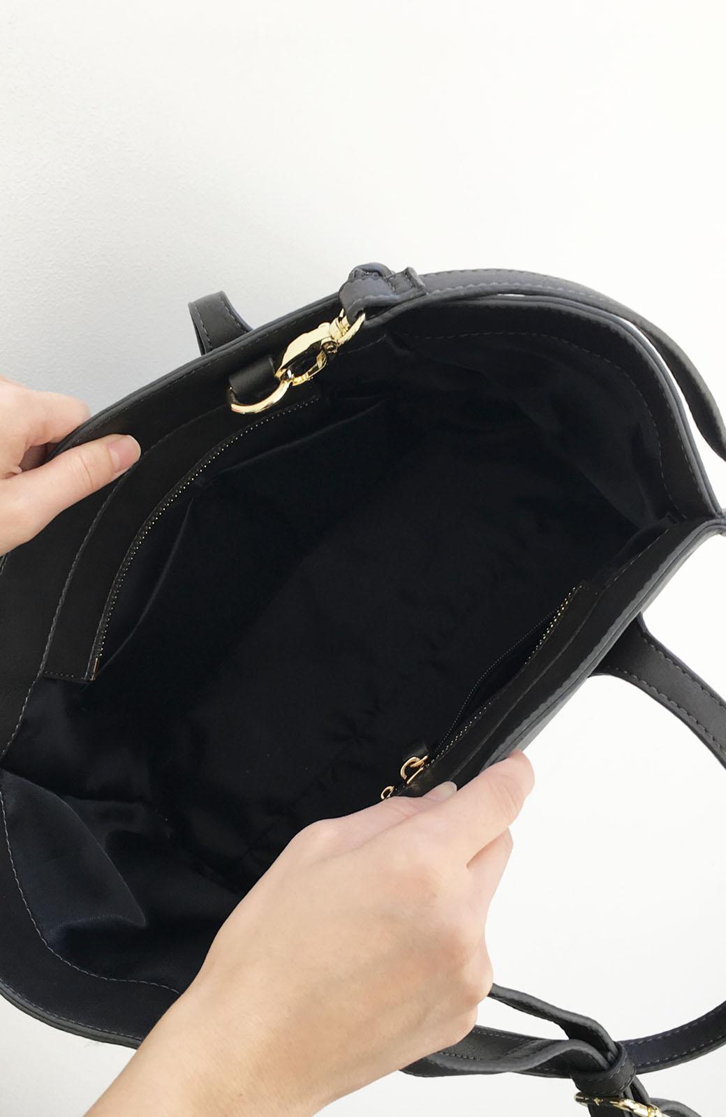 エムトロワ 編み込みデザインがかわいいフェミニントートバッグ <チャコールグレー>の商品写真3