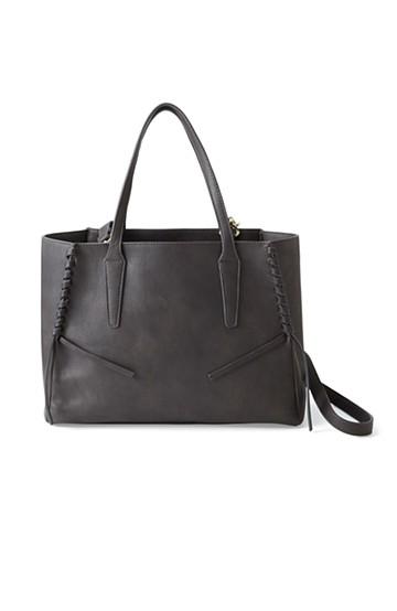 エムトロワ 編み込みデザインがかわいいフェミニントートバッグ <チャコールグレー>の商品写真