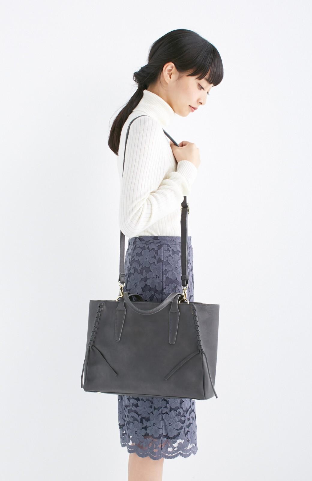 エムトロワ 編み込みデザインがかわいいフェミニントートバッグ <チャコールグレー>の商品写真11