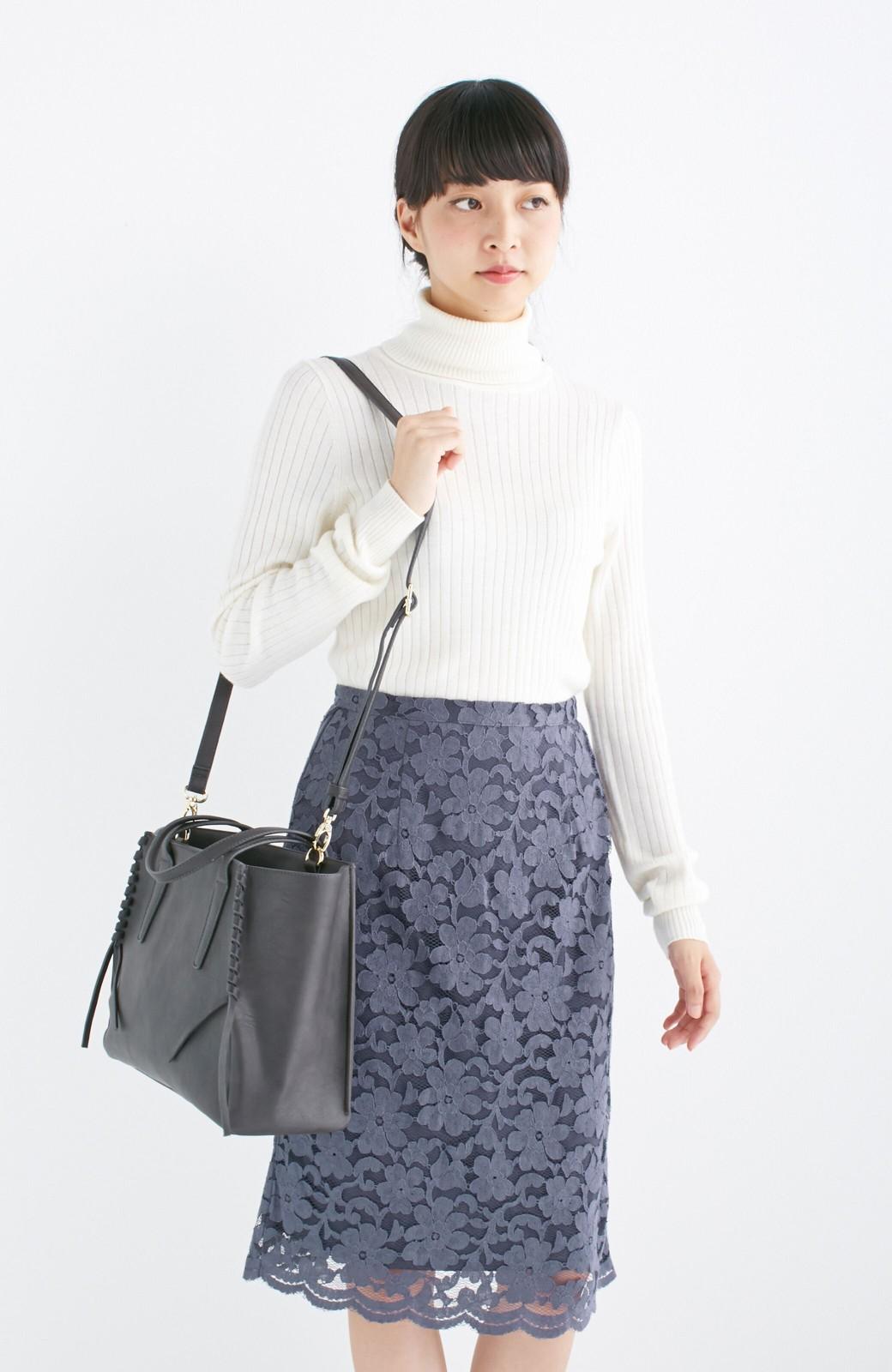 エムトロワ 編み込みデザインがかわいいフェミニントートバッグ <チャコールグレー>の商品写真12