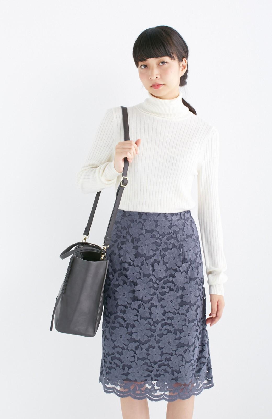 エムトロワ 編み込みデザインがかわいいフェミニントートバッグ <チャコールグレー>の商品写真13