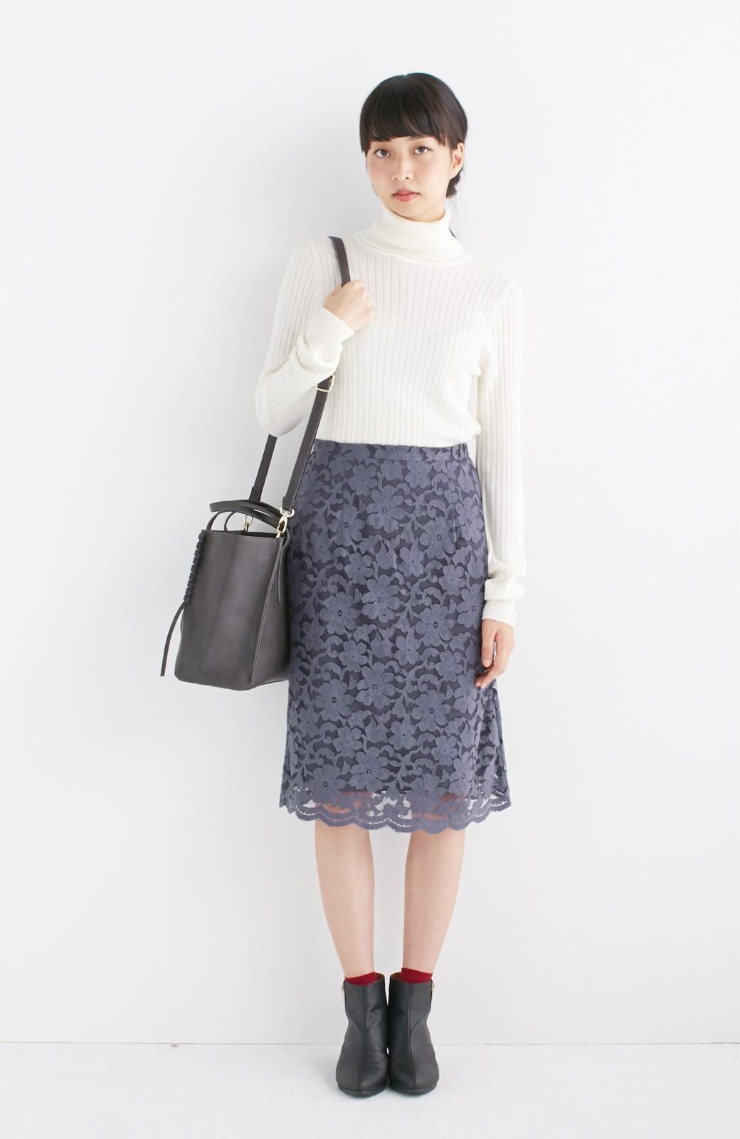 エムトロワ 編み込みデザインがかわいいフェミニントートバッグ <チャコールグレー>の商品写真6
