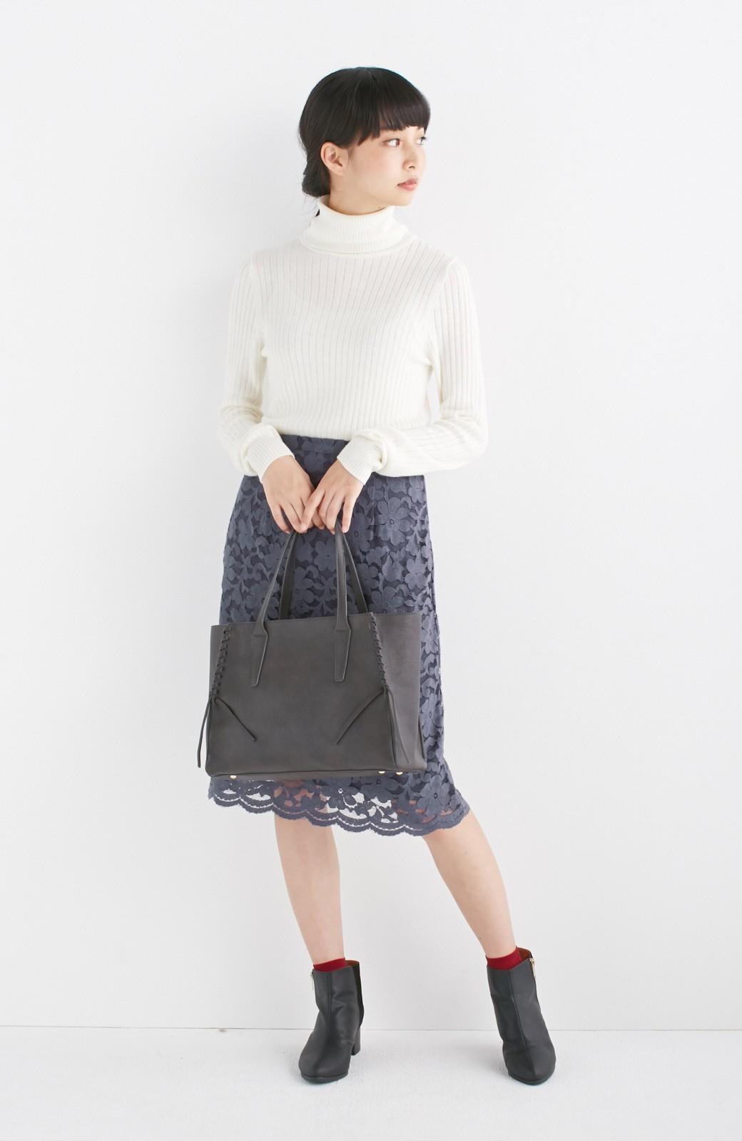 エムトロワ 編み込みデザインがかわいいフェミニントートバッグ <チャコールグレー>の商品写真7