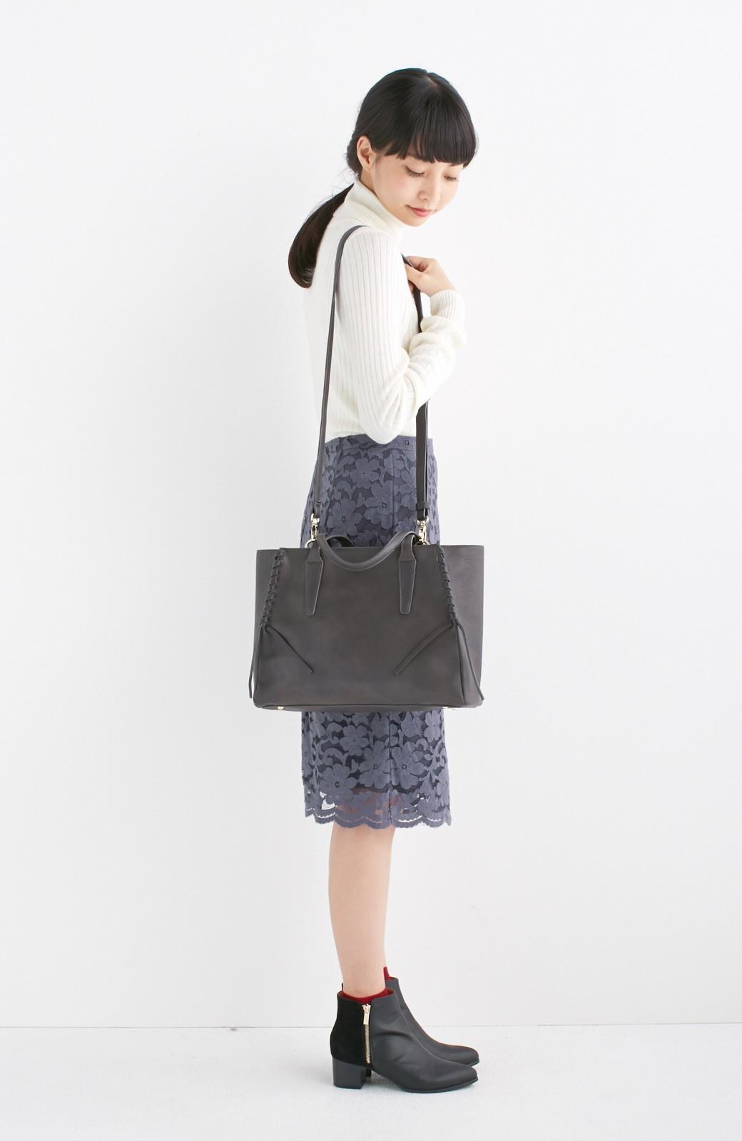 エムトロワ 編み込みデザインがかわいいフェミニントートバッグ <チャコールグレー>の商品写真8