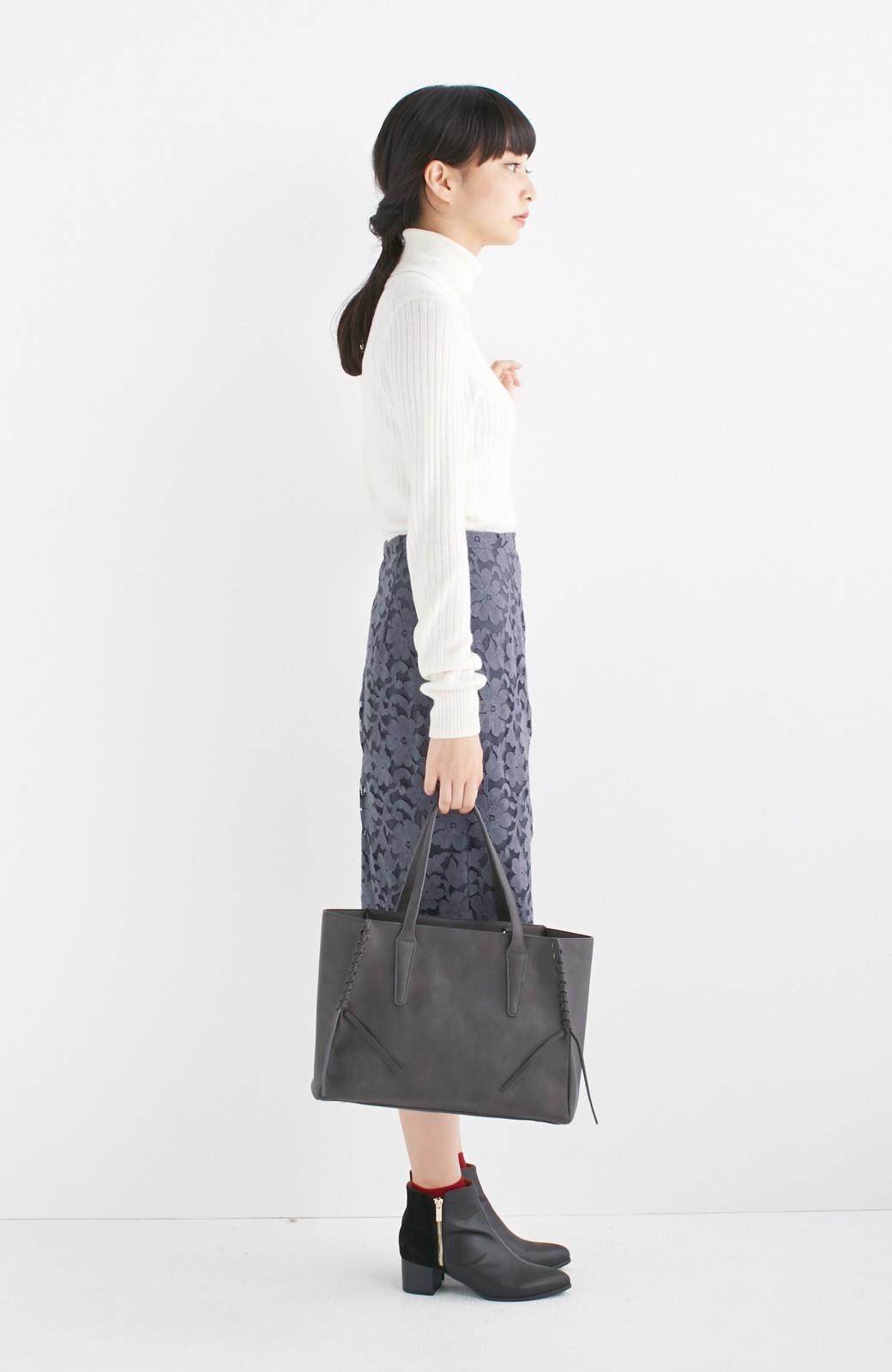 エムトロワ 編み込みデザインがかわいいフェミニントートバッグ <チャコールグレー>の商品写真9