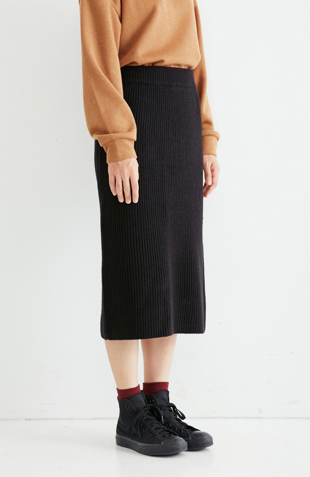 nusy 【mer11月号掲載】配色ラインがポイントのリブ編みニットアップ  <ブラック>の商品写真14