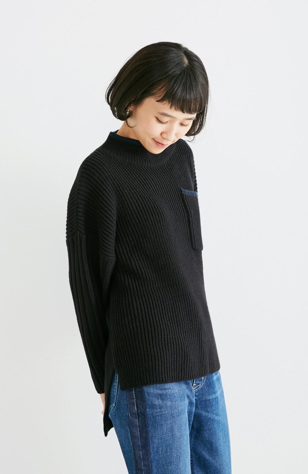 nusy 【mer11月号掲載】配色ラインがポイントのリブ編みニットアップ  <ブラック>の商品写真8