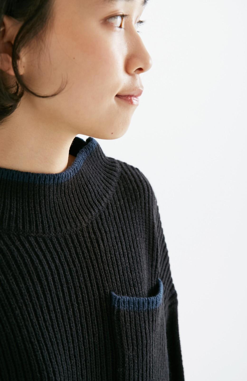 nusy 【mer11月号掲載】配色ラインがポイントのリブ編みニットアップ  <ブラック>の商品写真9