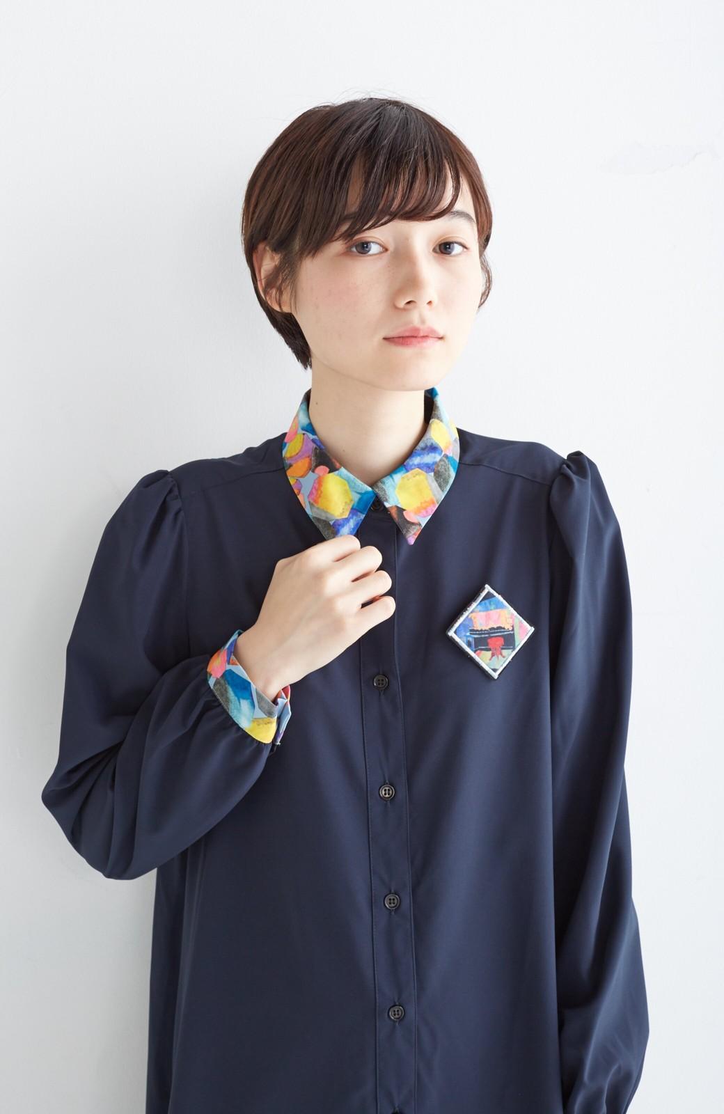 haco! 【再販決定】co&tion×haco. 入谷葉子 おすましワンピースとブローチのセット <ネイビー>の商品写真15