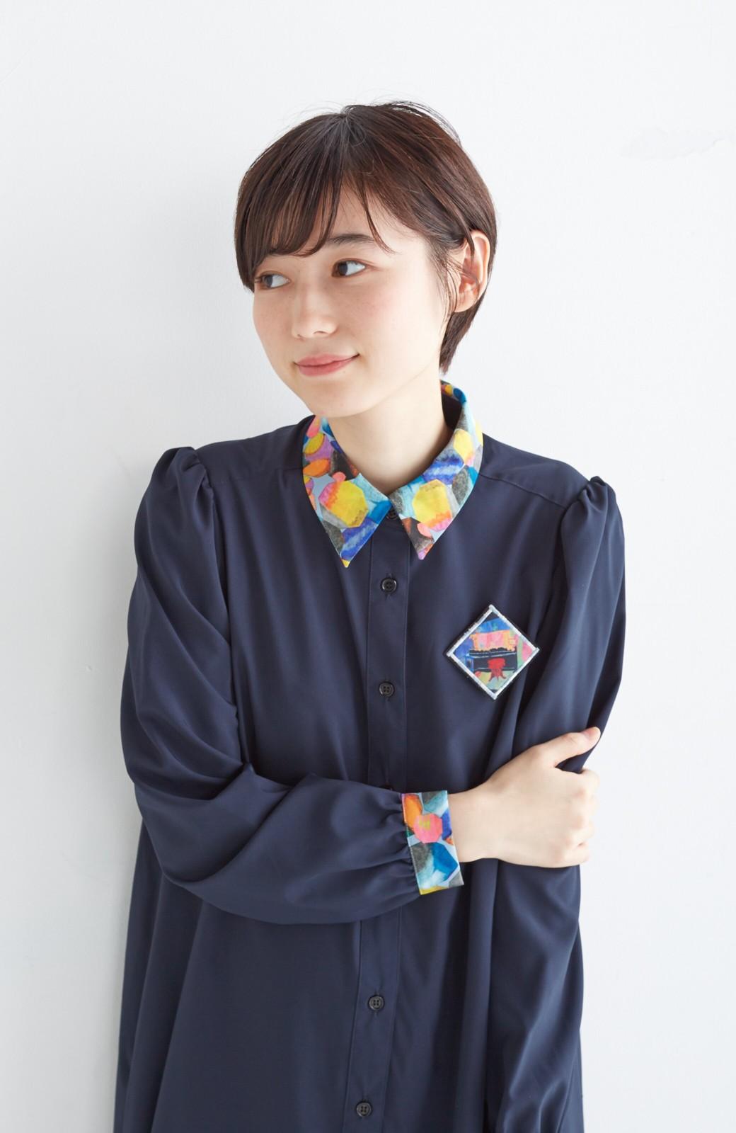 haco! 【再販決定】co&tion×haco. 入谷葉子 おすましワンピースとブローチのセット <ネイビー>の商品写真16