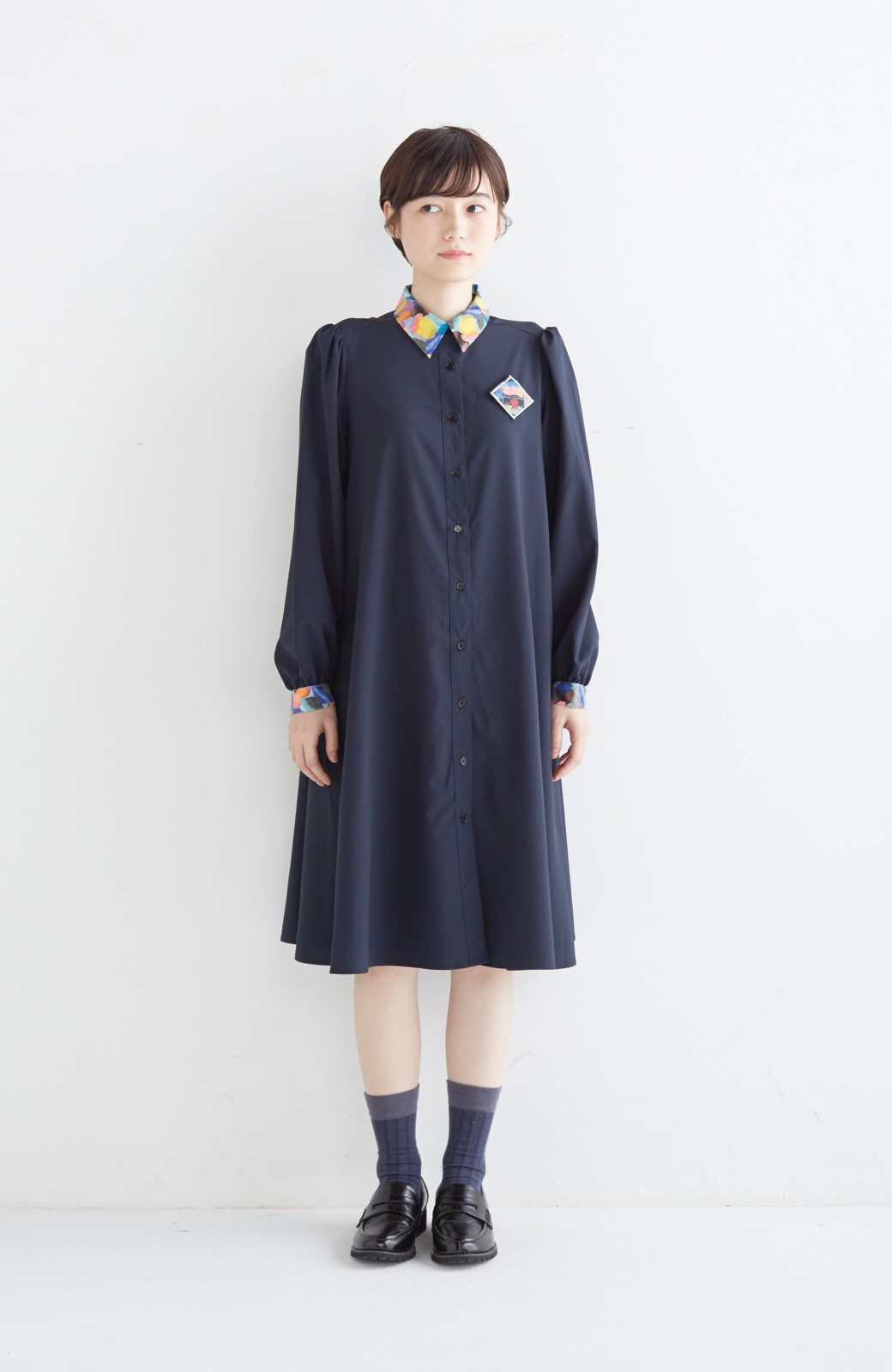 haco! 【再販決定】co&tion×haco. 入谷葉子 おすましワンピースとブローチのセット <ネイビー>の商品写真7