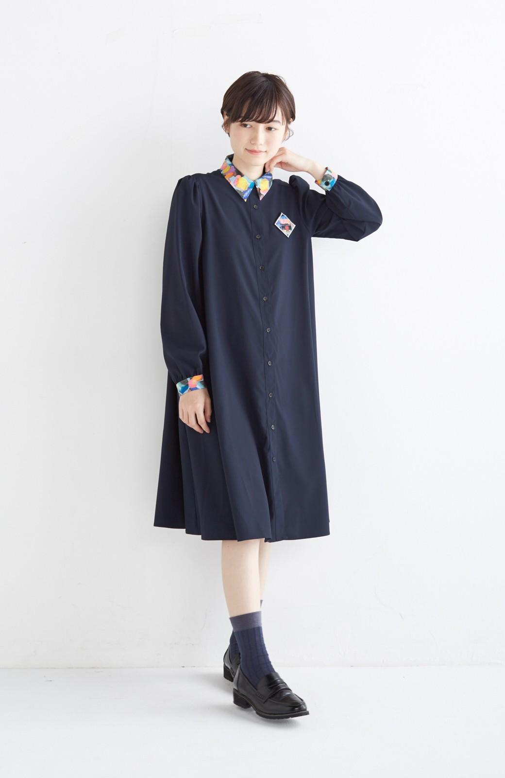 haco! 【再販決定】co&tion×haco. 入谷葉子 おすましワンピースとブローチのセット <ネイビー>の商品写真8