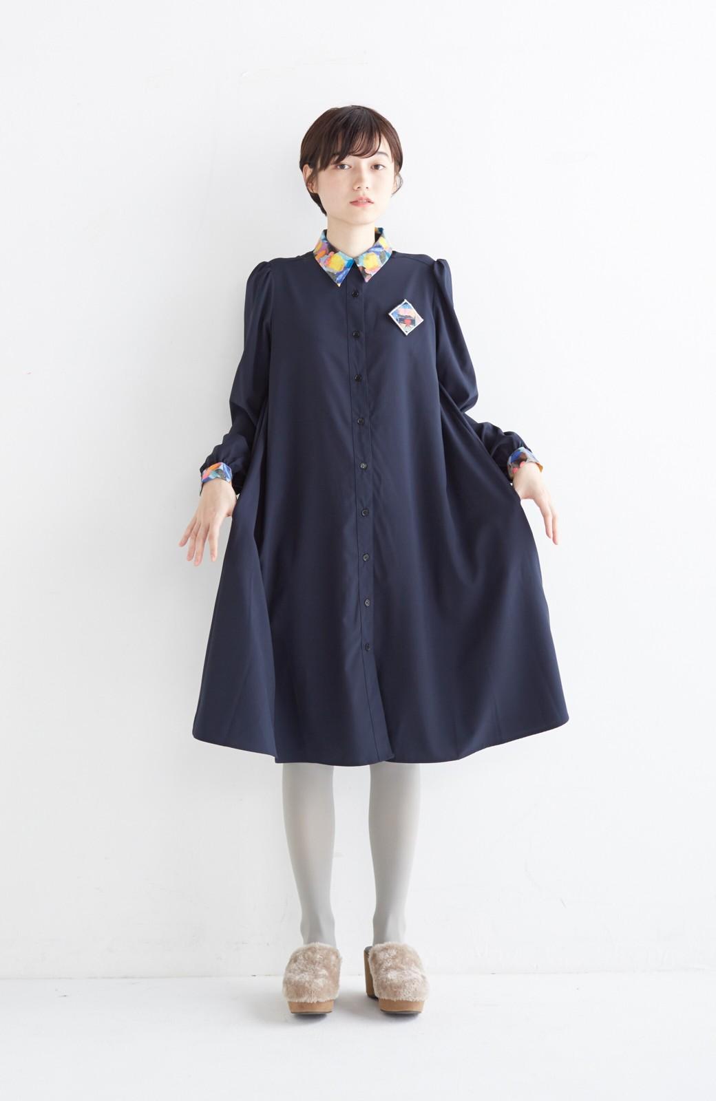 haco! 【再販決定】co&tion×haco. 入谷葉子 おすましワンピースとブローチのセット <ネイビー>の商品写真10