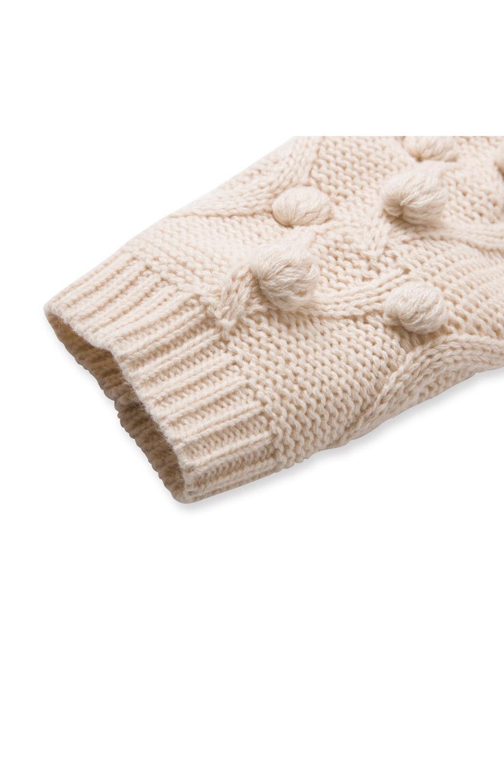 nusy パプコーン編みがかわいい おしゃれニットワンピ <ホワイト>の商品写真4