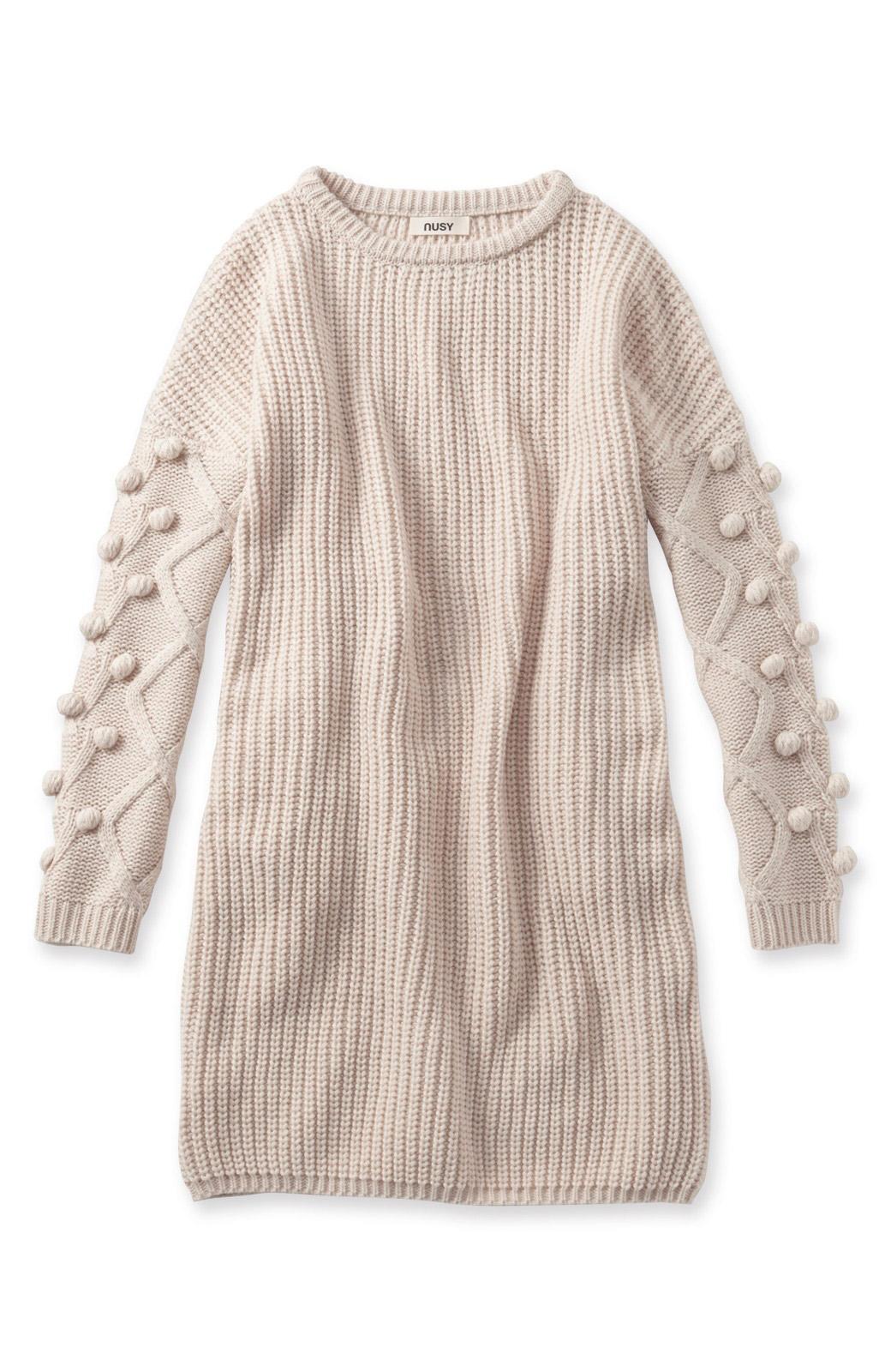 nusy パプコーン編みがかわいい おしゃれニットワンピ <ホワイト>の商品写真2
