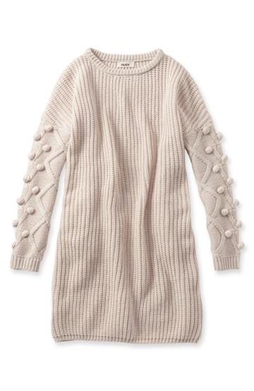 nusy パプコーン編みがかわいい おしゃれニットワンピ <ホワイト>の商品写真