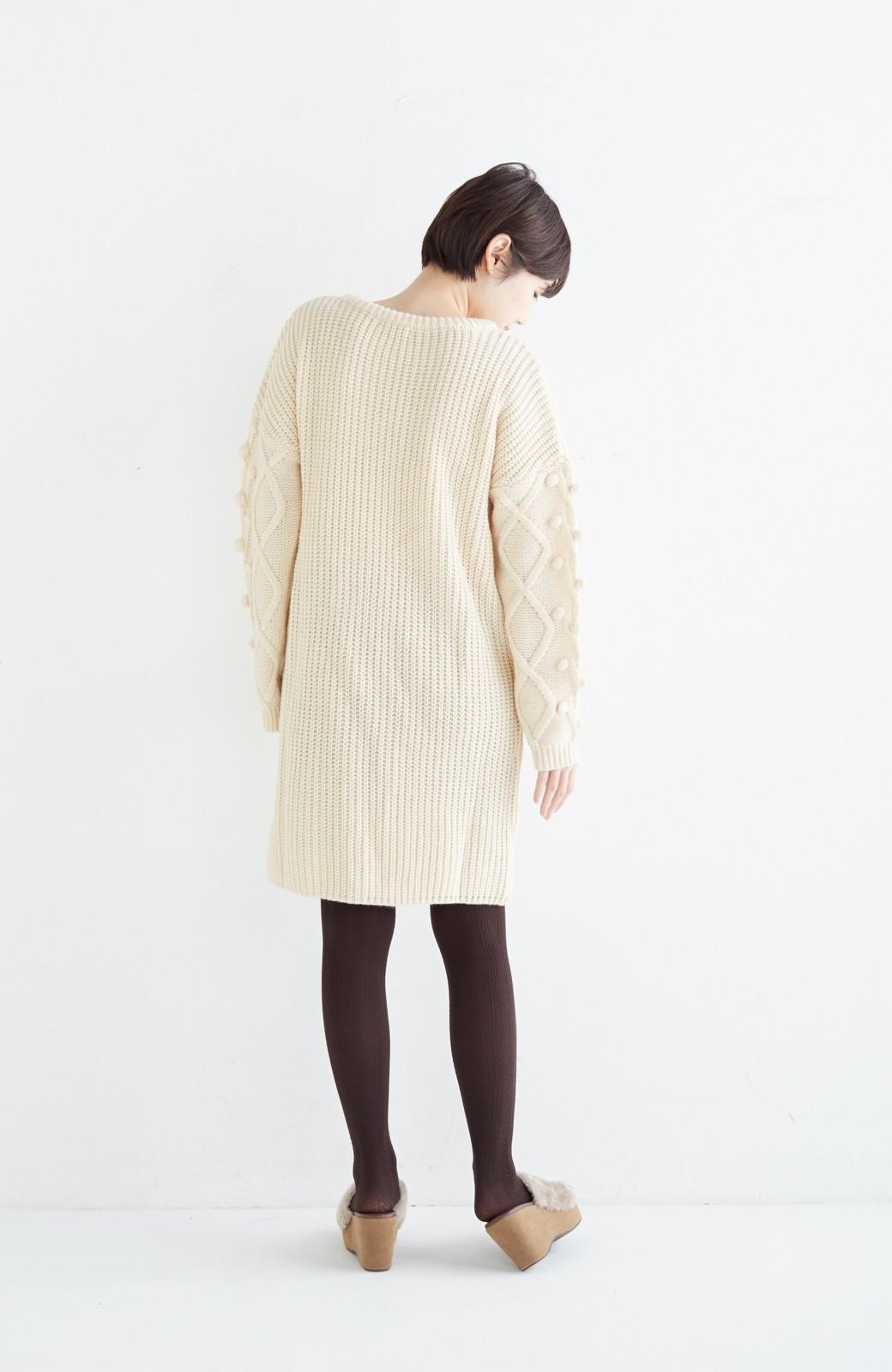 nusy パプコーン編みがかわいい おしゃれニットワンピ <ホワイト>の商品写真13