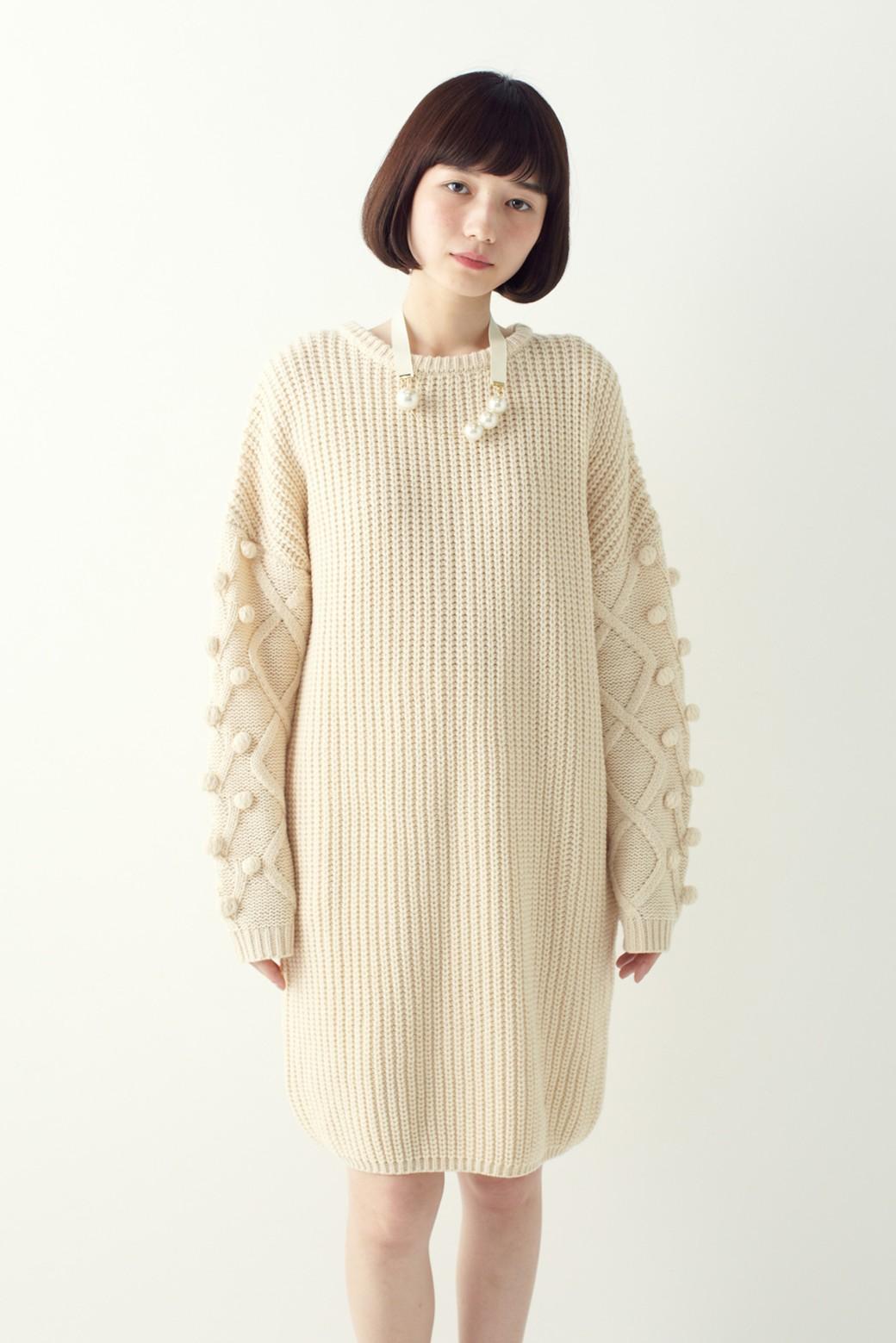 nusy パプコーン編みがかわいい おしゃれニットワンピ <ホワイト>の商品写真1