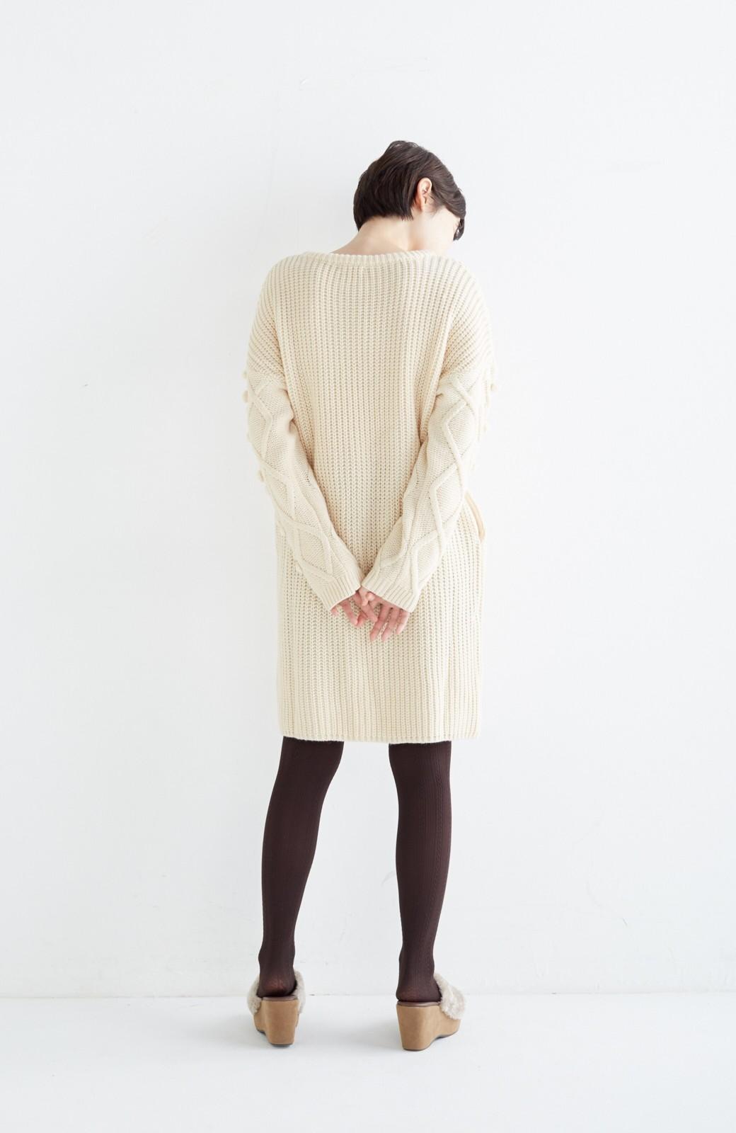 nusy パプコーン編みがかわいい おしゃれニットワンピ <ホワイト>の商品写真14