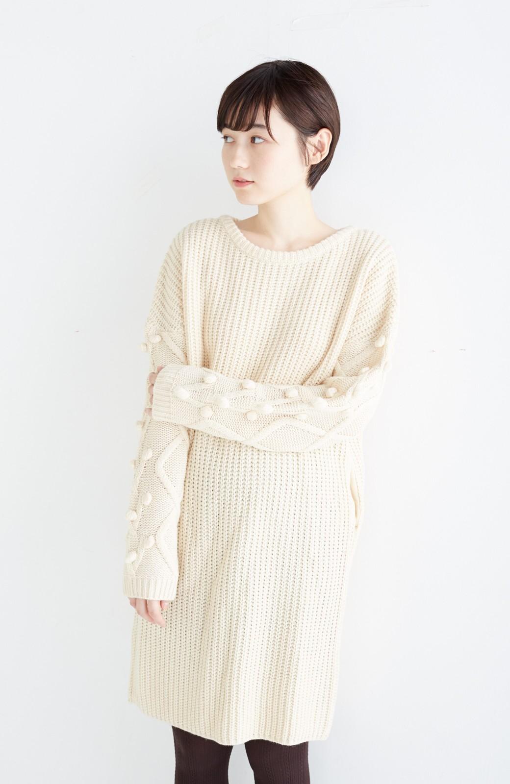 nusy パプコーン編みがかわいい おしゃれニットワンピ <ホワイト>の商品写真15