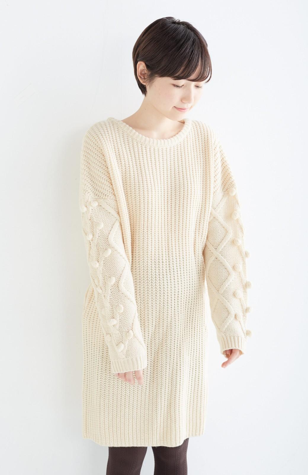 nusy パプコーン編みがかわいい おしゃれニットワンピ <ホワイト>の商品写真16