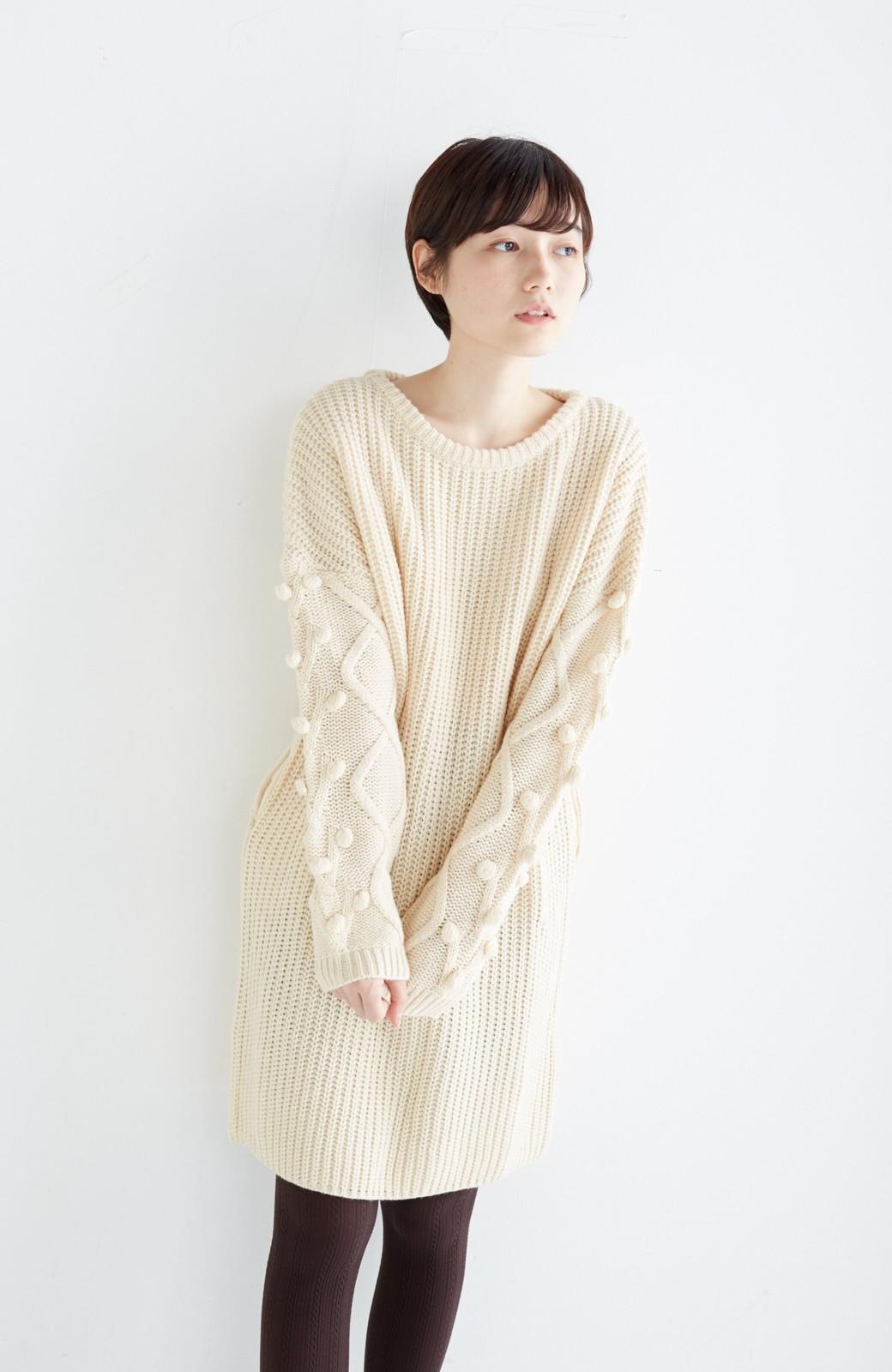 nusy パプコーン編みがかわいい おしゃれニットワンピ <ホワイト>の商品写真17