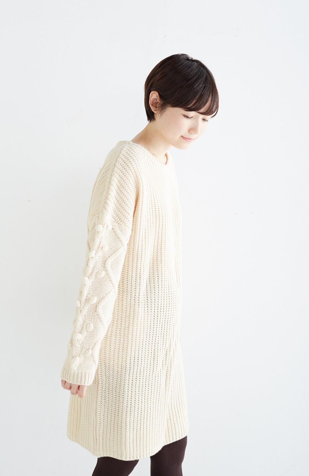 nusy パプコーン編みがかわいい おしゃれニットワンピ <ホワイト>の商品写真18