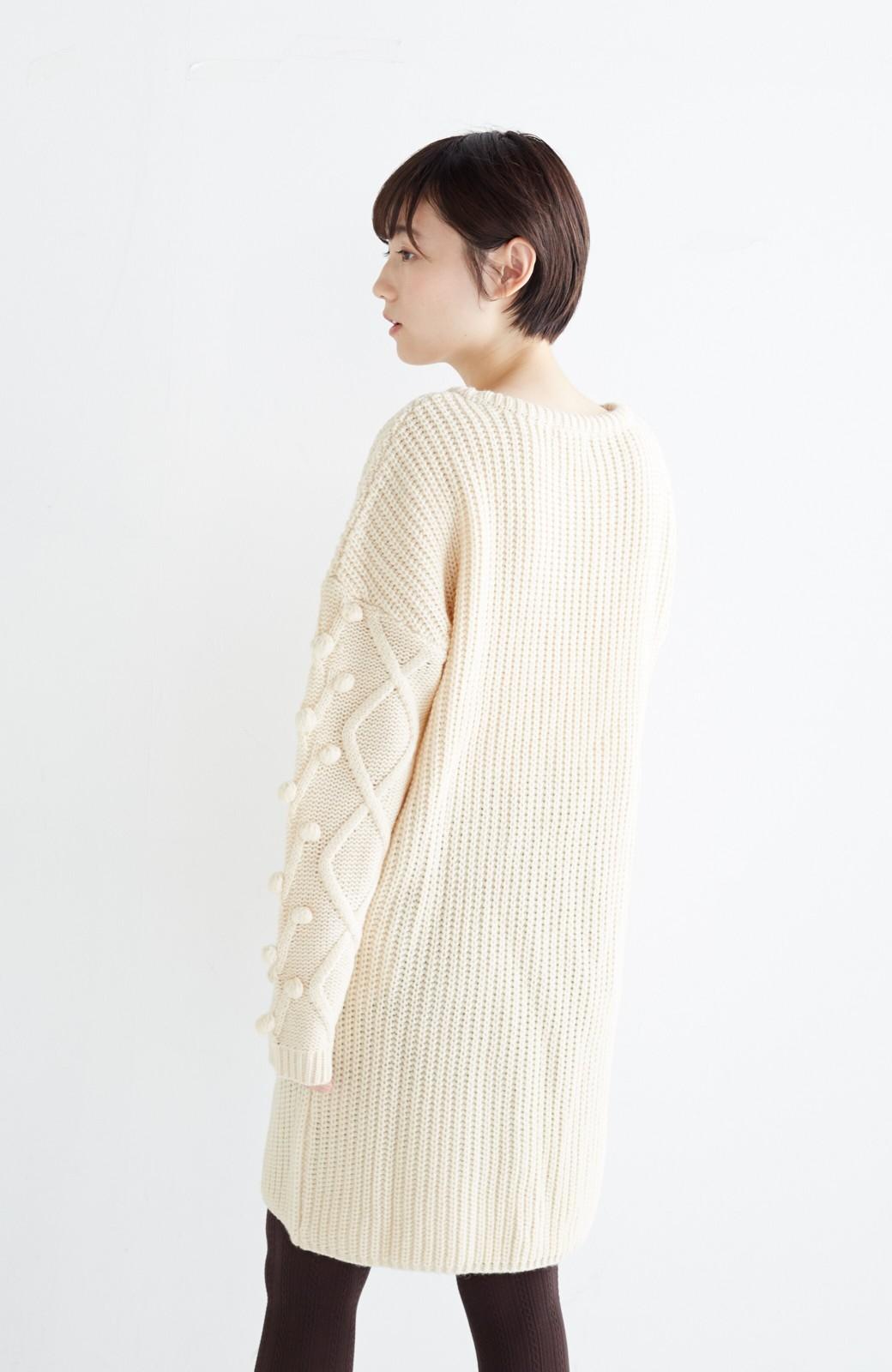 nusy パプコーン編みがかわいい おしゃれニットワンピ <ホワイト>の商品写真19