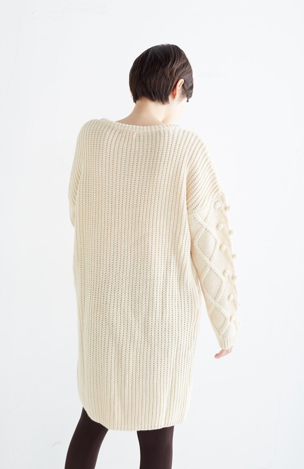 nusy パプコーン編みがかわいい おしゃれニットワンピ <ホワイト>の商品写真20