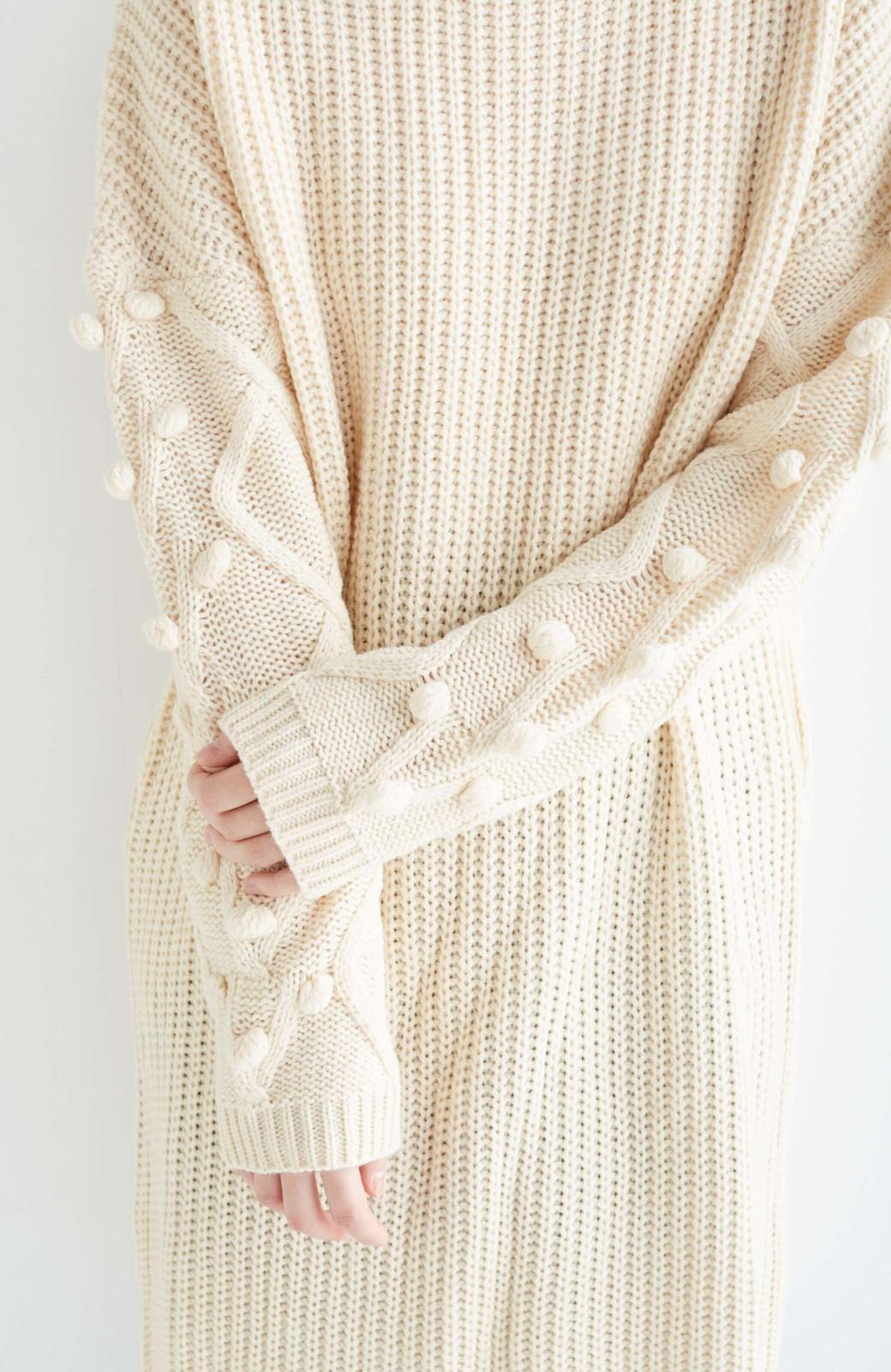 nusy パプコーン編みがかわいい おしゃれニットワンピ <ホワイト>の商品写真21