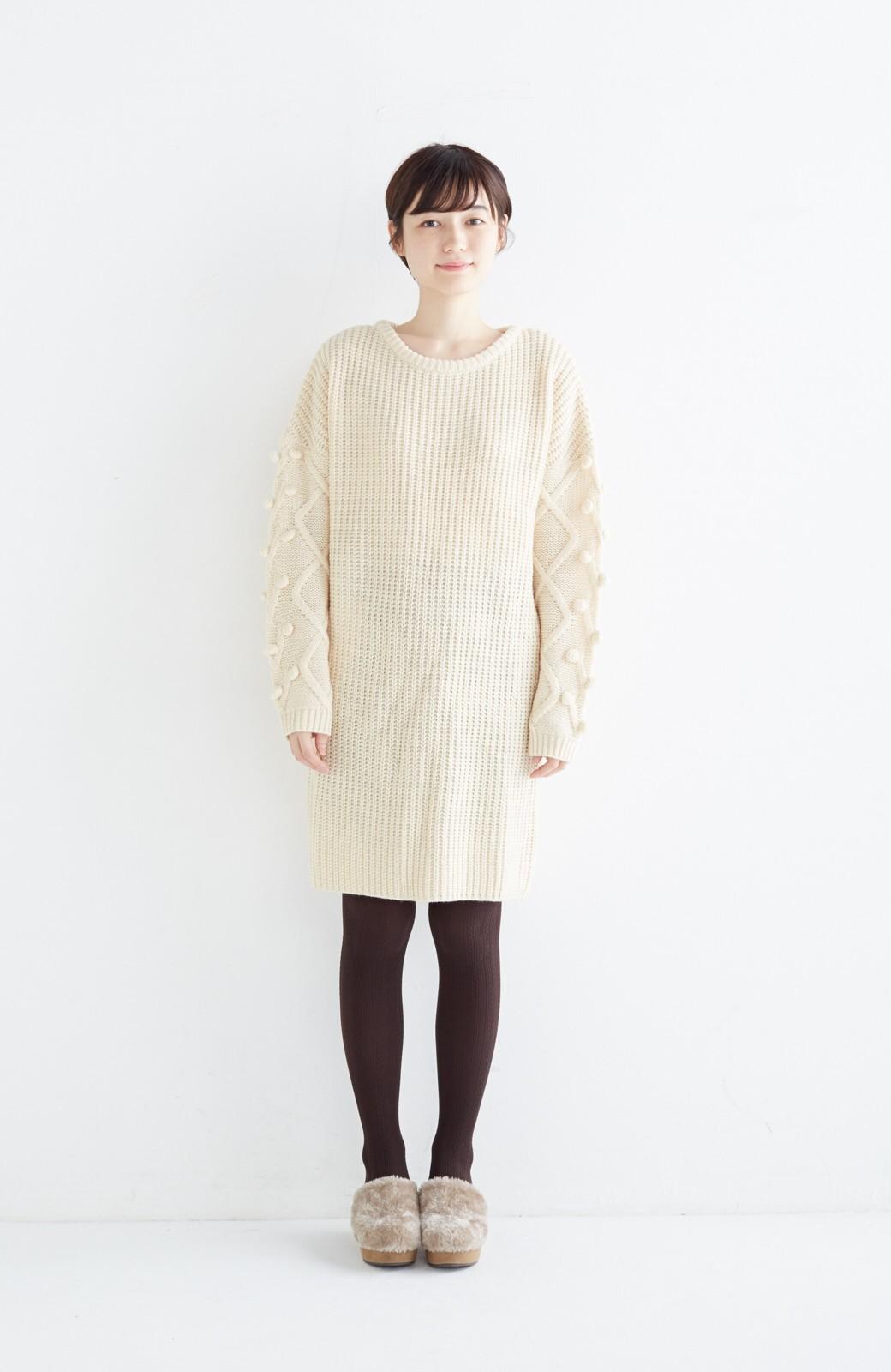 nusy パプコーン編みがかわいい おしゃれニットワンピ <ホワイト>の商品写真6