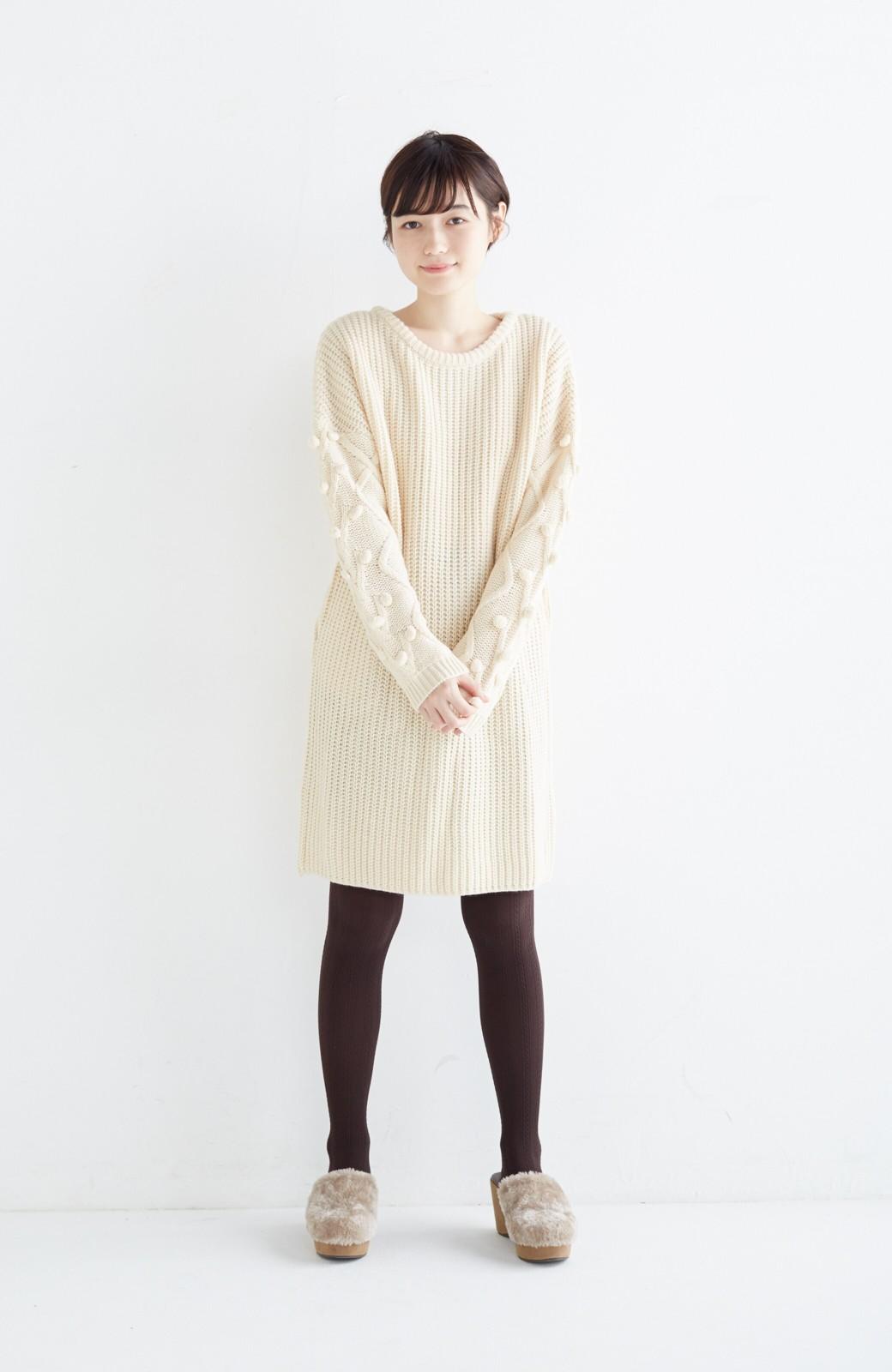 nusy パプコーン編みがかわいい おしゃれニットワンピ <ホワイト>の商品写真7