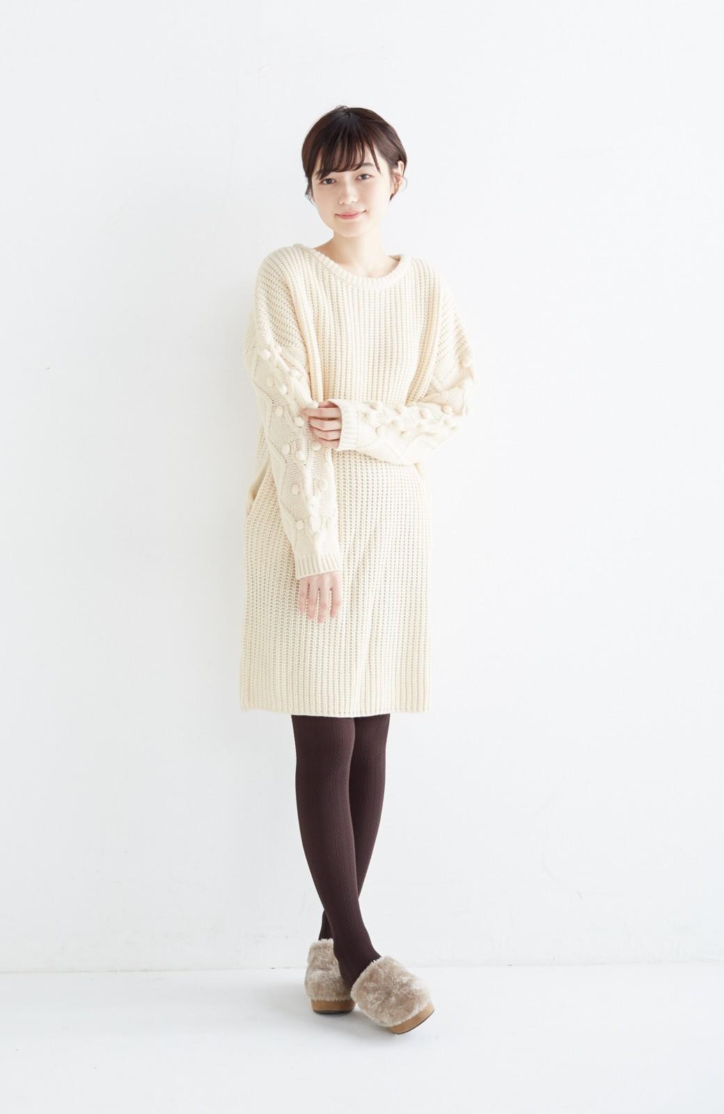 nusy パプコーン編みがかわいい おしゃれニットワンピ <ホワイト>の商品写真8