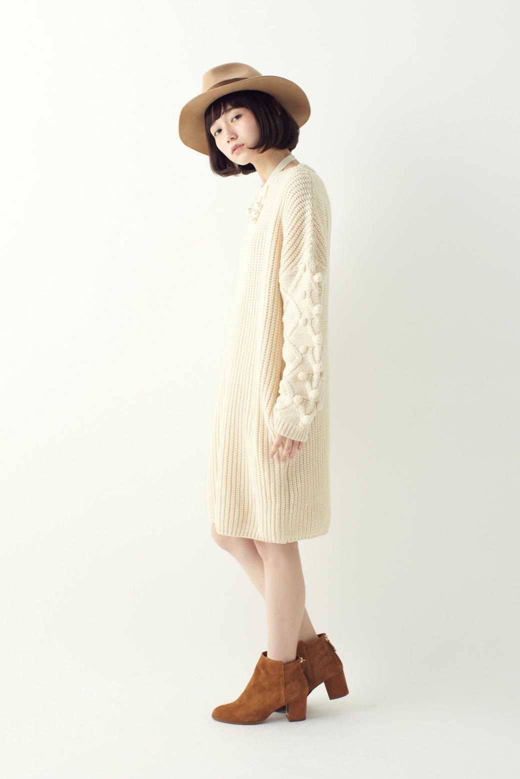nusy パプコーン編みがかわいい おしゃれニットワンピ <ホワイト>の商品写真10
