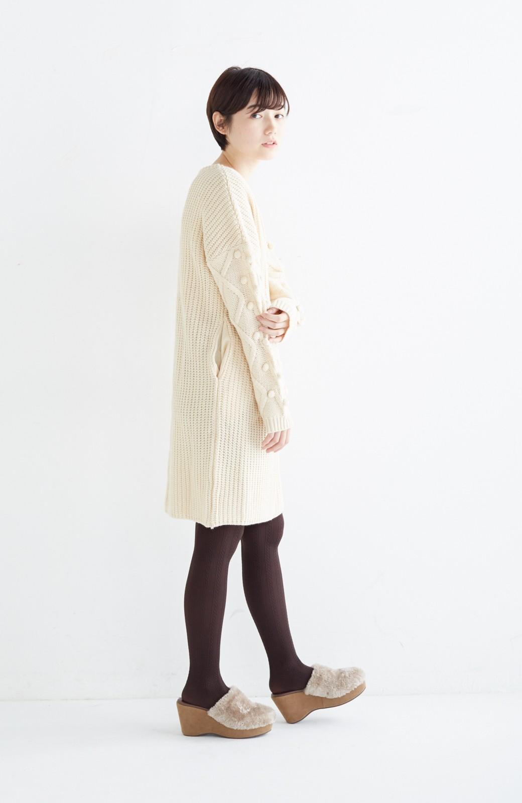 nusy パプコーン編みがかわいい おしゃれニットワンピ <ホワイト>の商品写真11