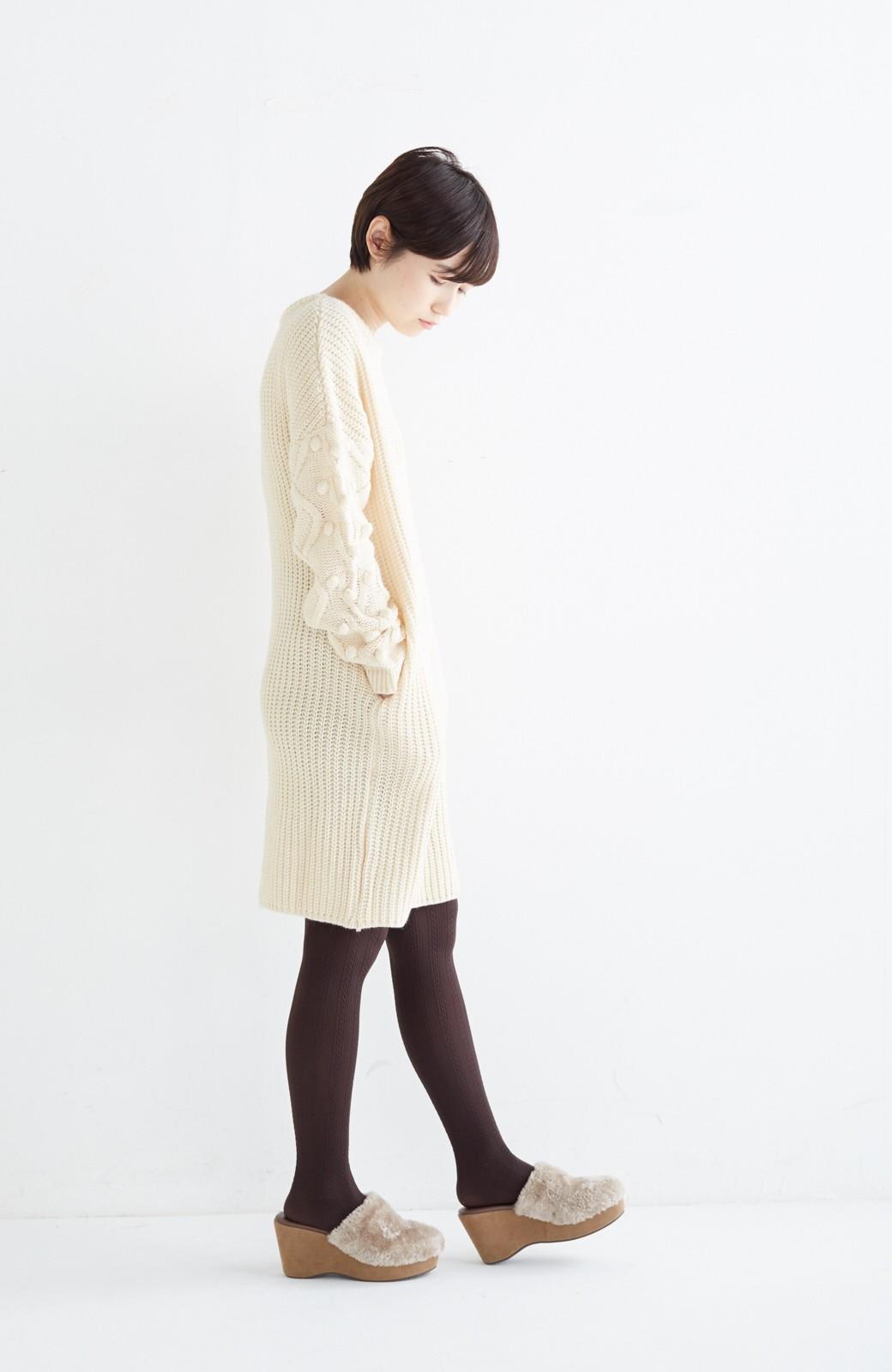 nusy パプコーン編みがかわいい おしゃれニットワンピ <ホワイト>の商品写真12