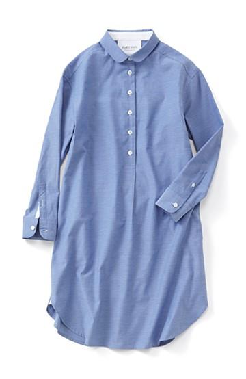 エムトロワ シンプルシックな丸衿シャツワンピース <ブルー>の商品写真