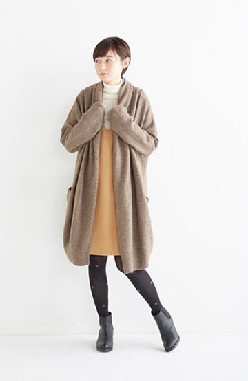 エムトロワ ぱっと羽織るのに便利な軽くてあったかいニットガウンコート <ブラウン>の商品写真